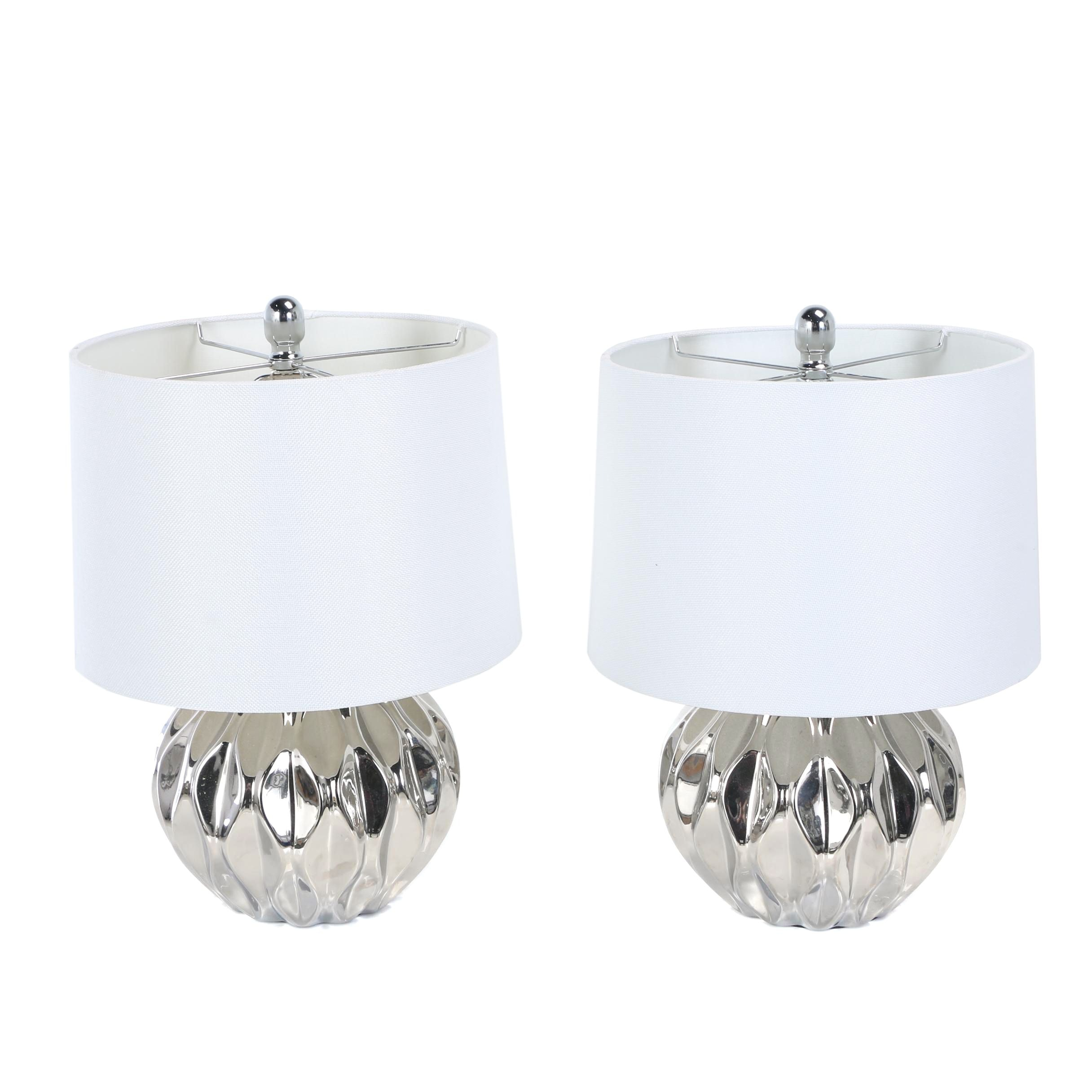 Modernist Style Chrome-Finished Ceramic Table Lamps