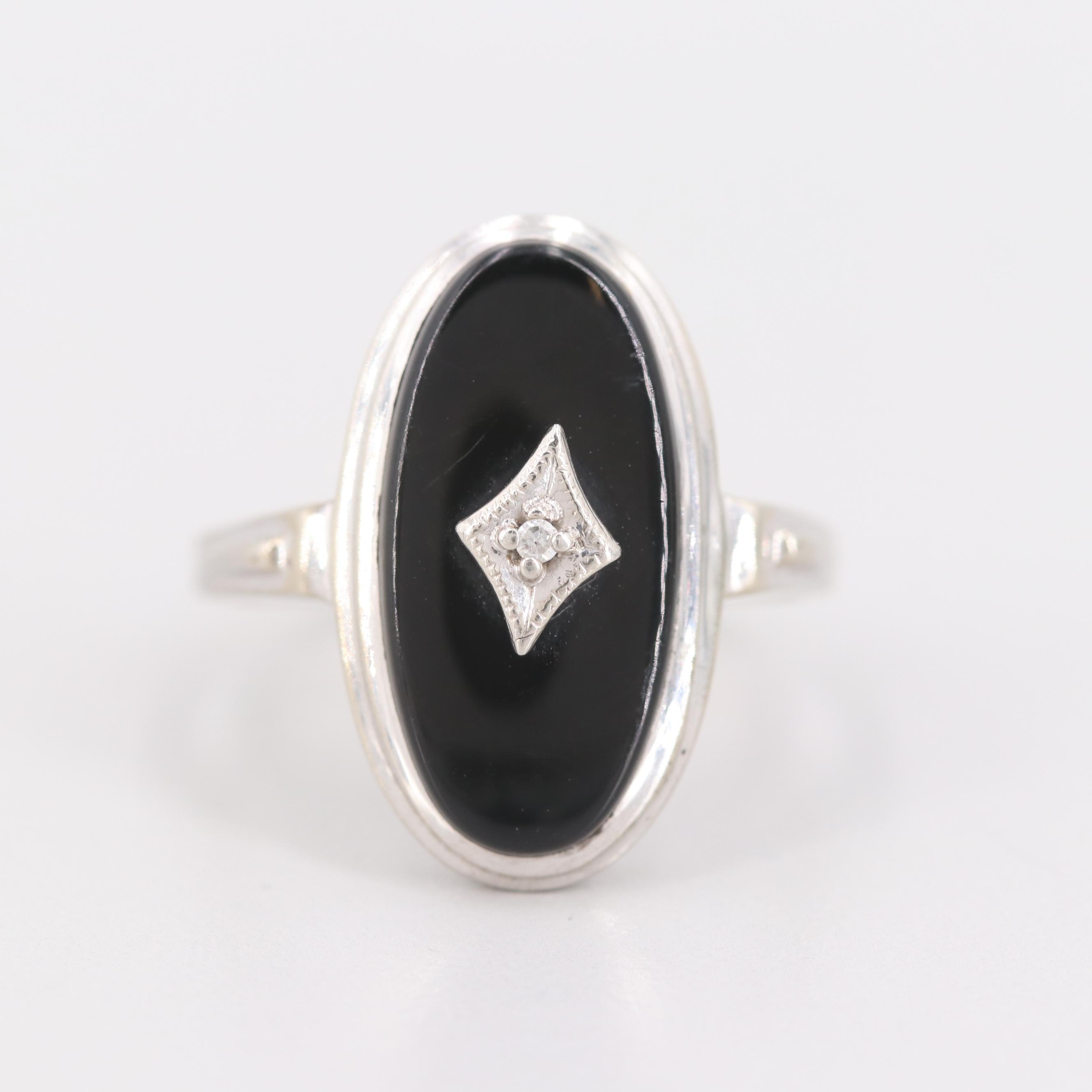 Vintage Harmony Wedding Ring Co. 10K White Gold Diamond and Black Onyx Ring