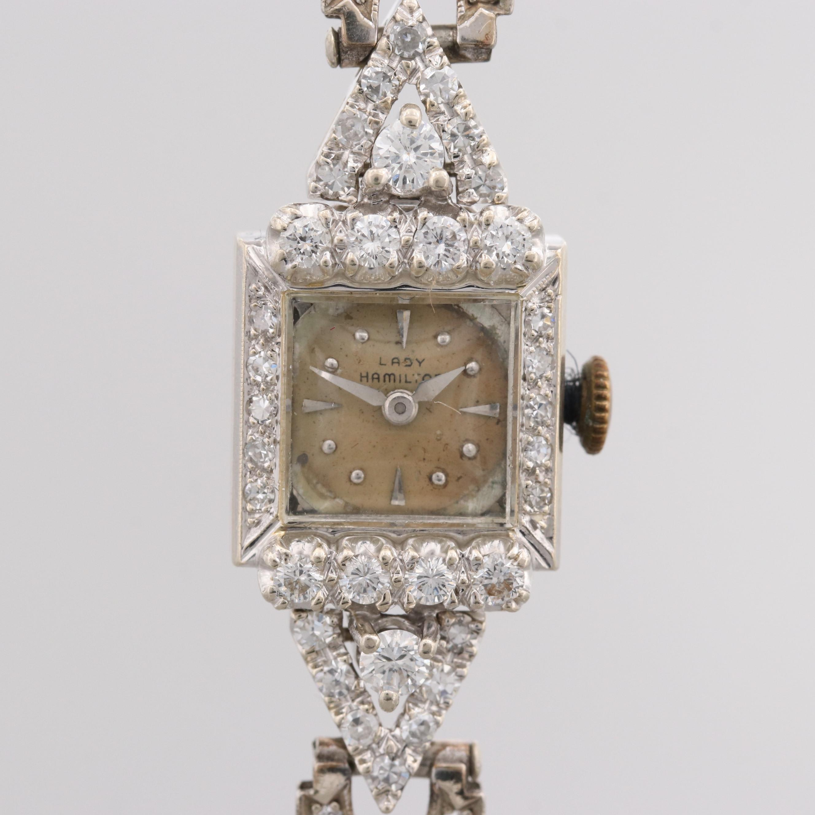 Lady Hamilton 14K White Gold Wristwatch With Diamond Bezel and Lugs