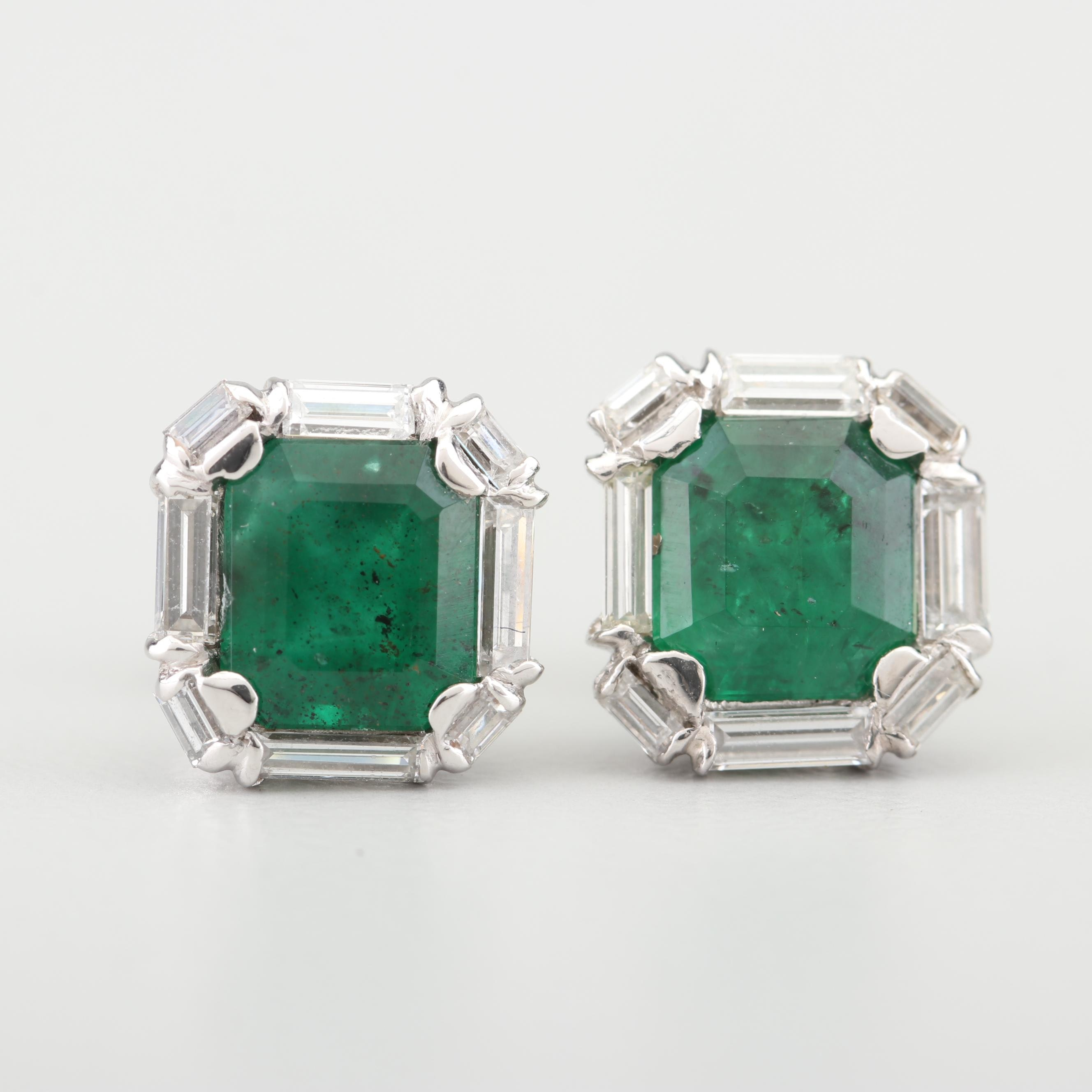 14K White Gold 2.20 CTW Emerald and Diamond Earrings