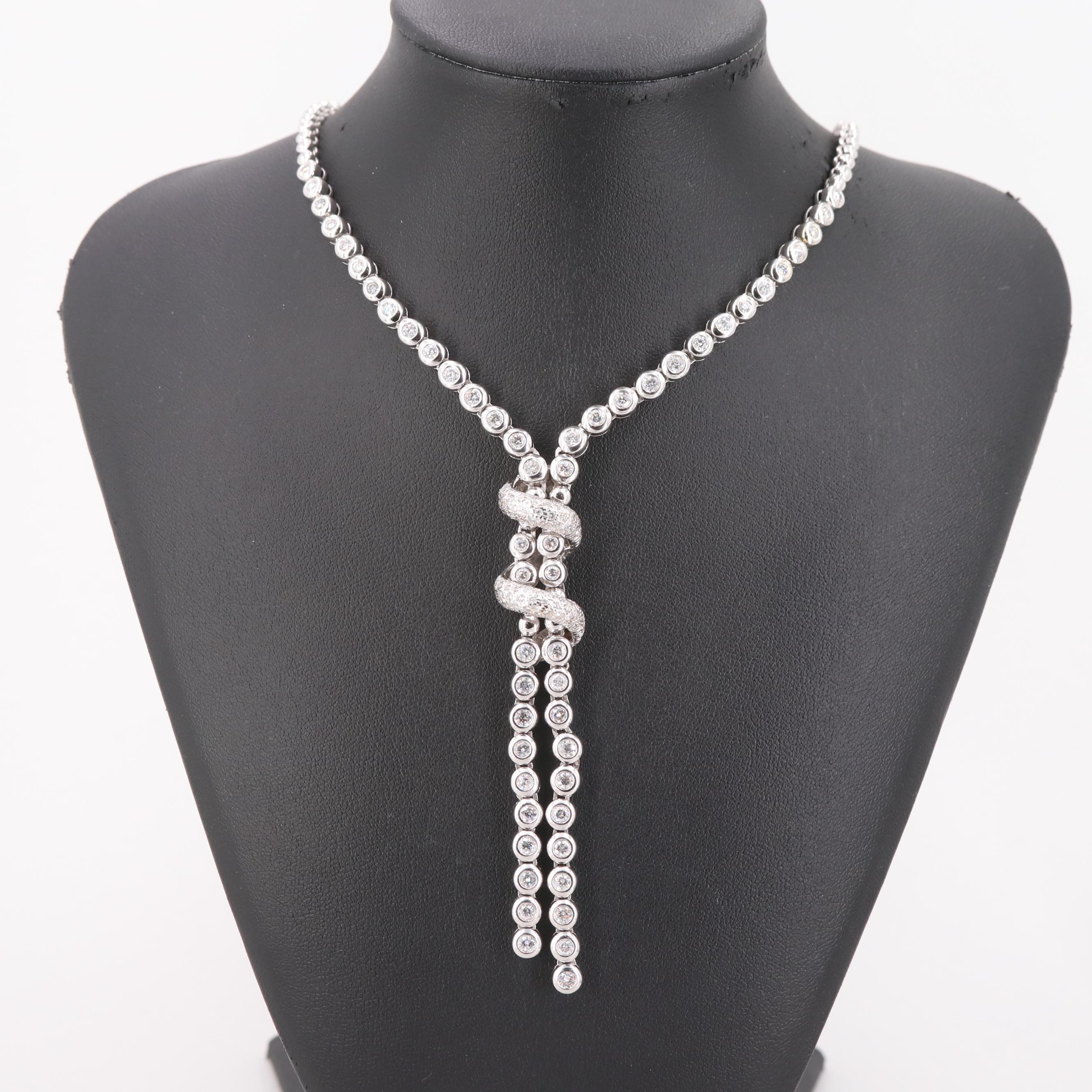 14K White Gold Bezel Set 4.25 CTW Diamond Bolo Necklace