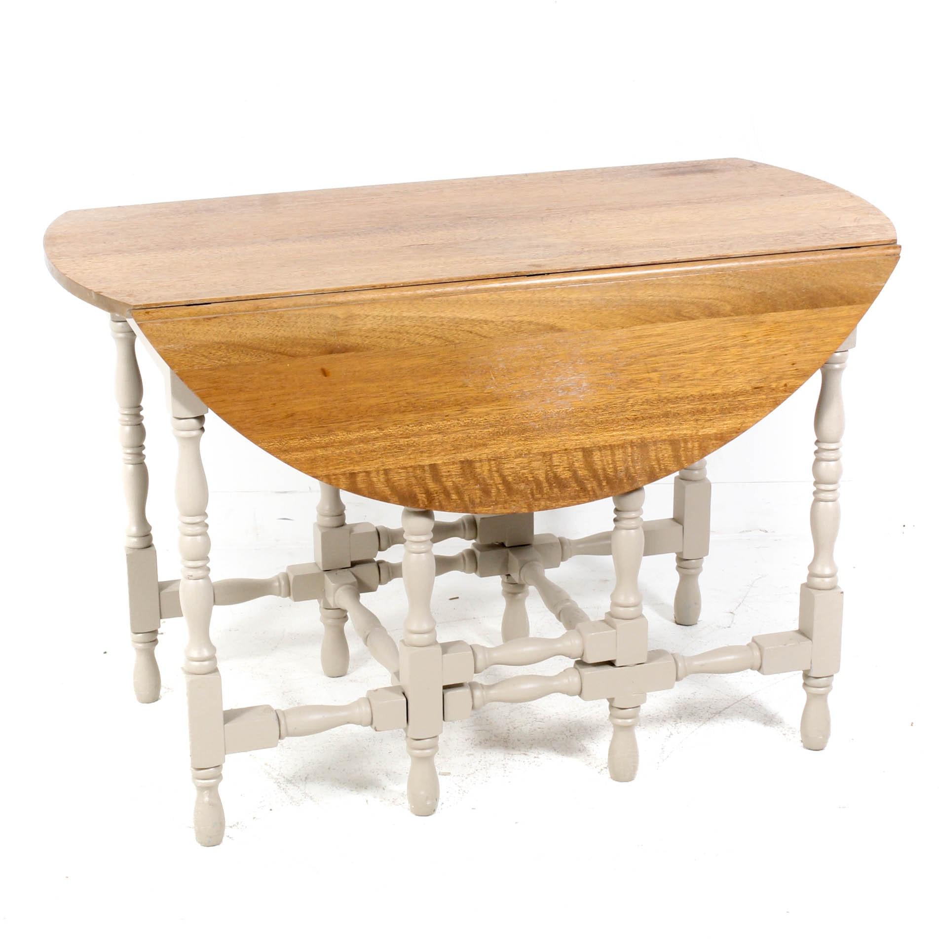 Vintage Wood Gate-Leg Drop-Leaf Table with Drawer