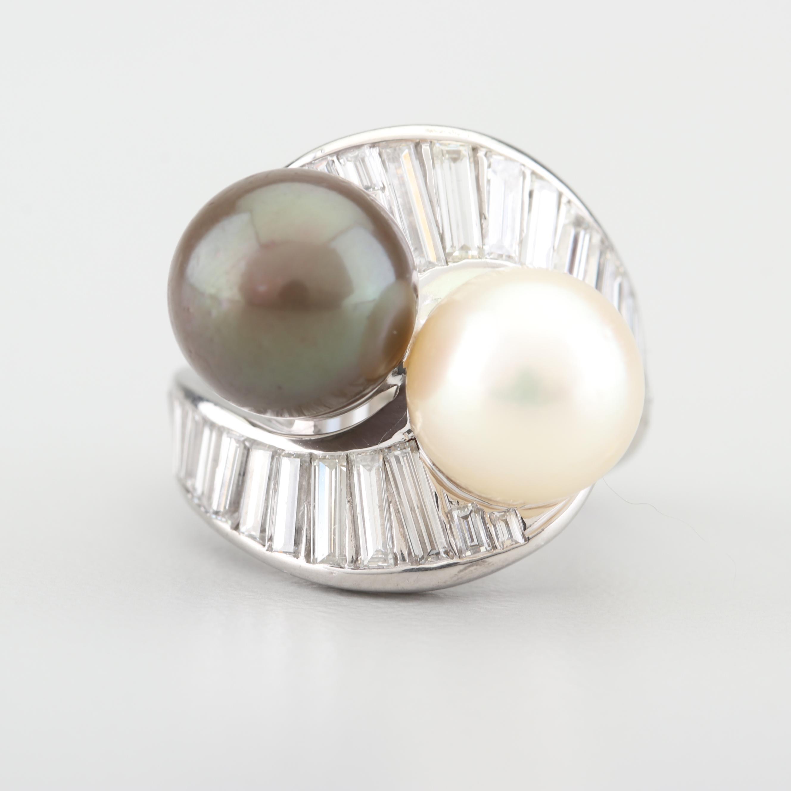 Platinum Cultured Pearl and 3.45 CTW Diamond Ring