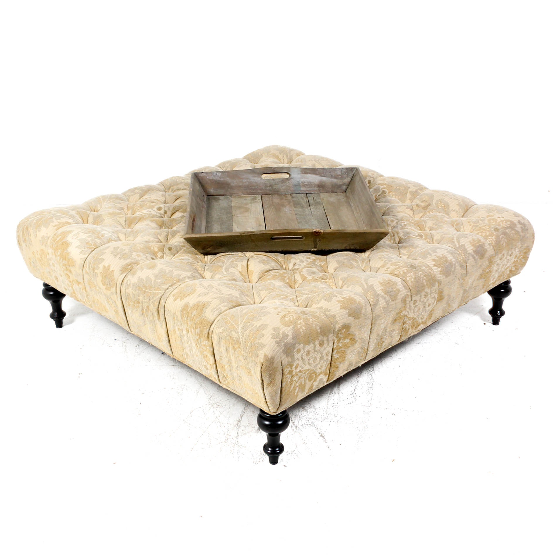 Oversized Cocktail Ottoman With Tray