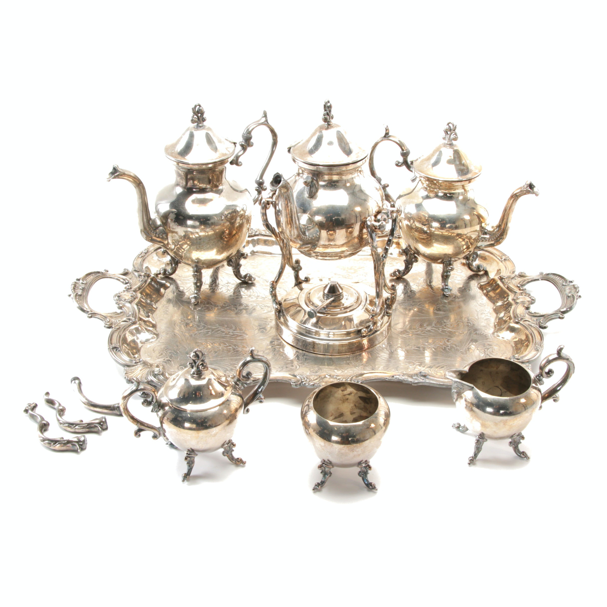 Silver Plated Birmingham Silver Co. Tea Service with Convertible Candelabras