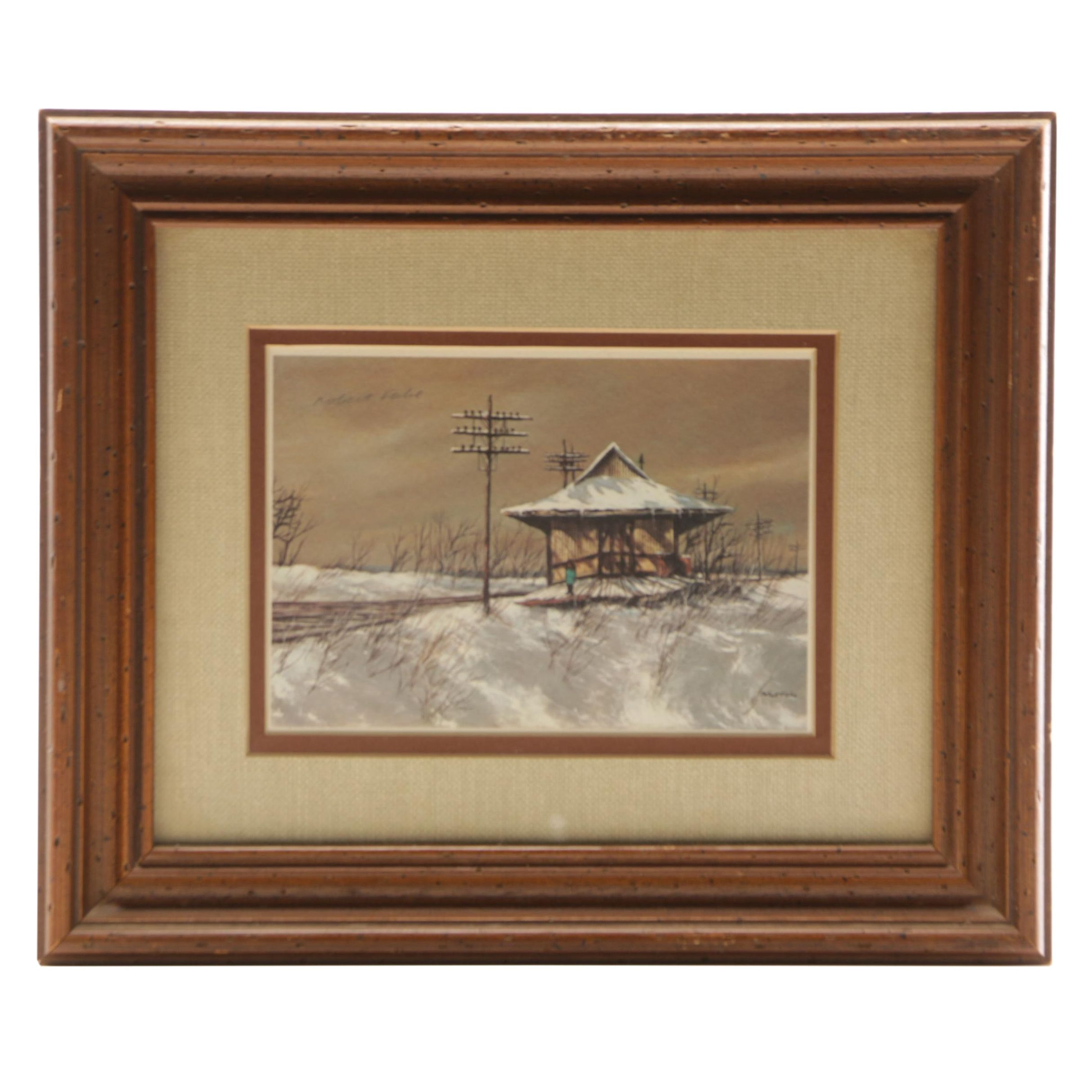Robert Fabe Offset Lithograph of Railroad Station in Winter