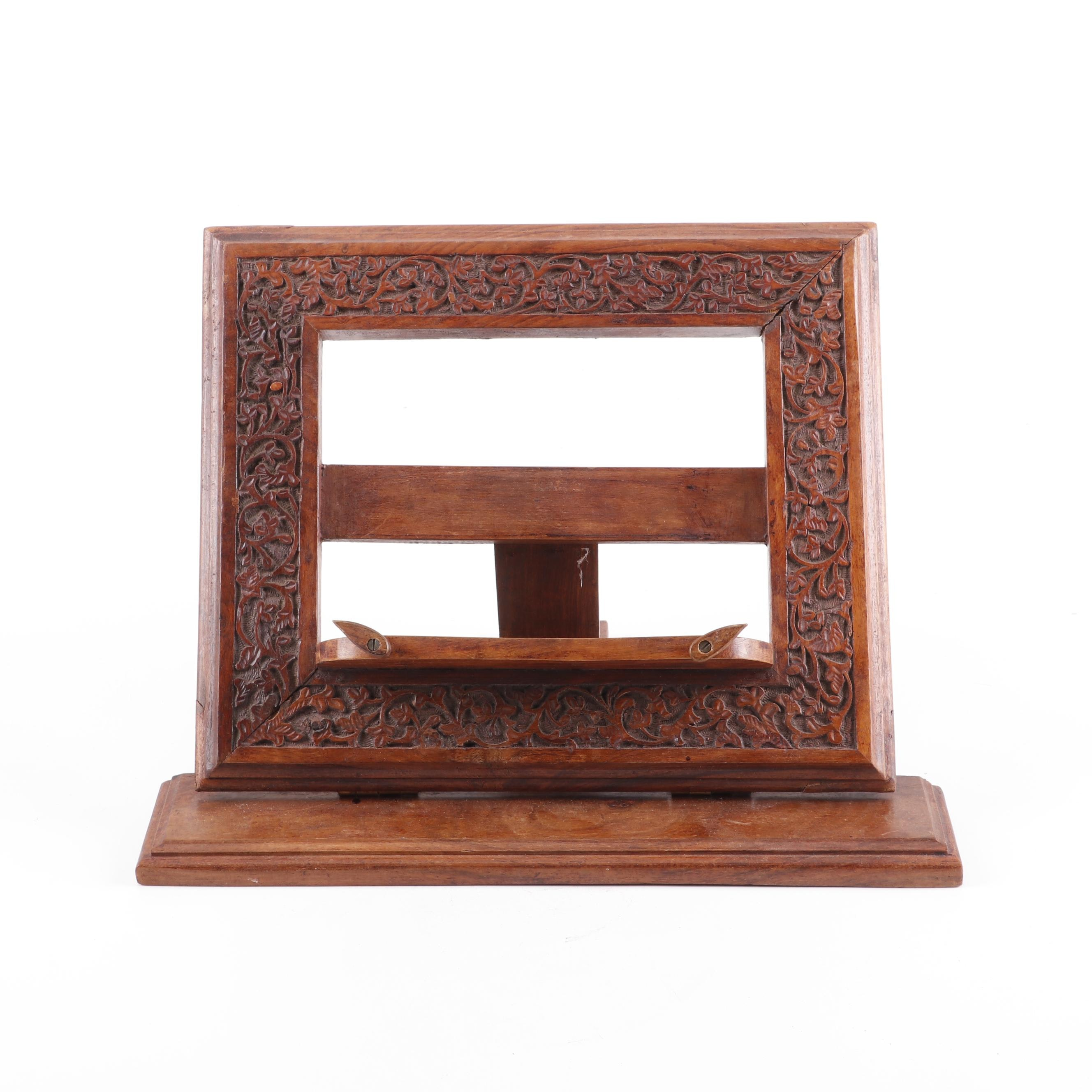 Antique Carved Cherry Wood Adjustable Book Stand