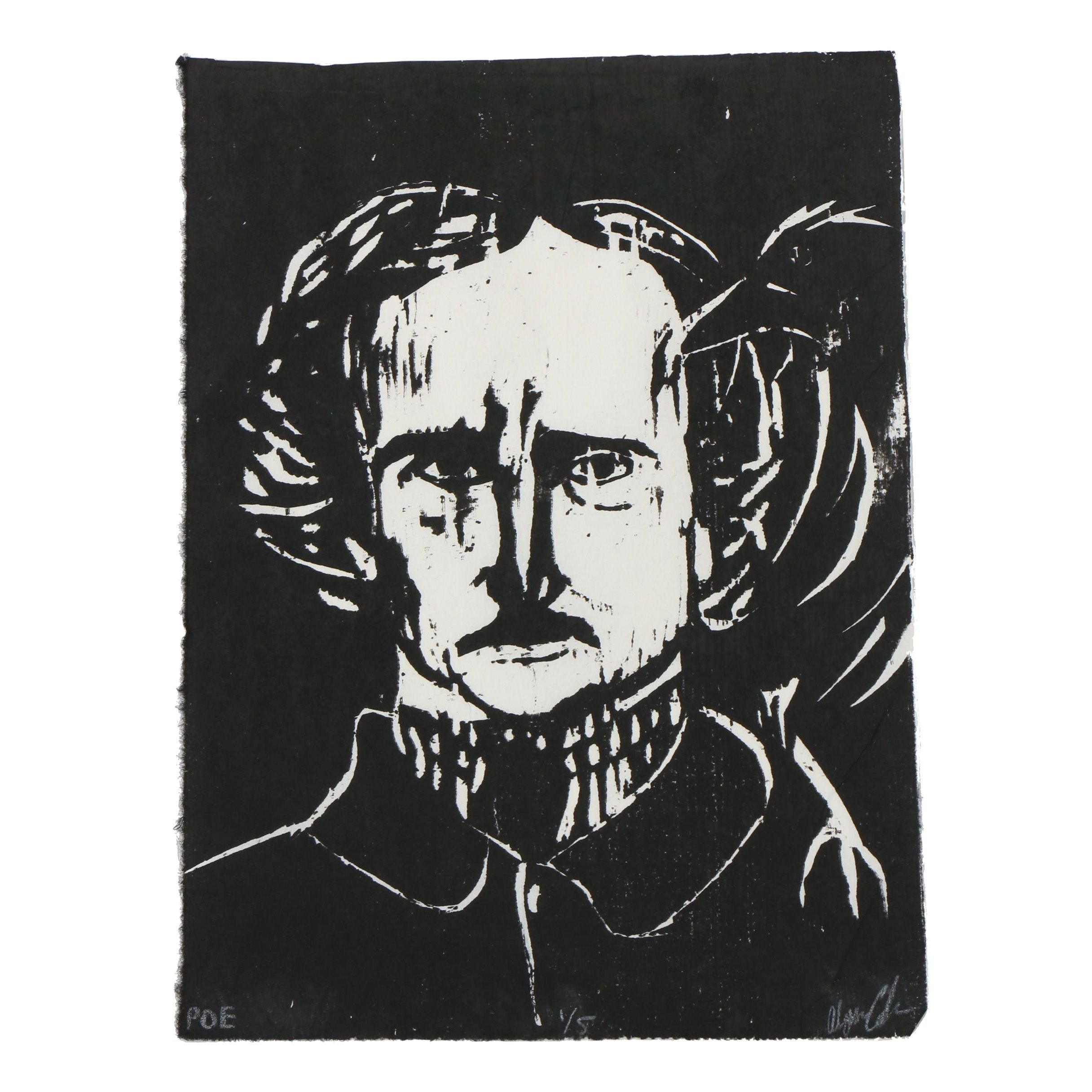 "Alyssa Coler Limited Edition Woodblock ""Poe"""