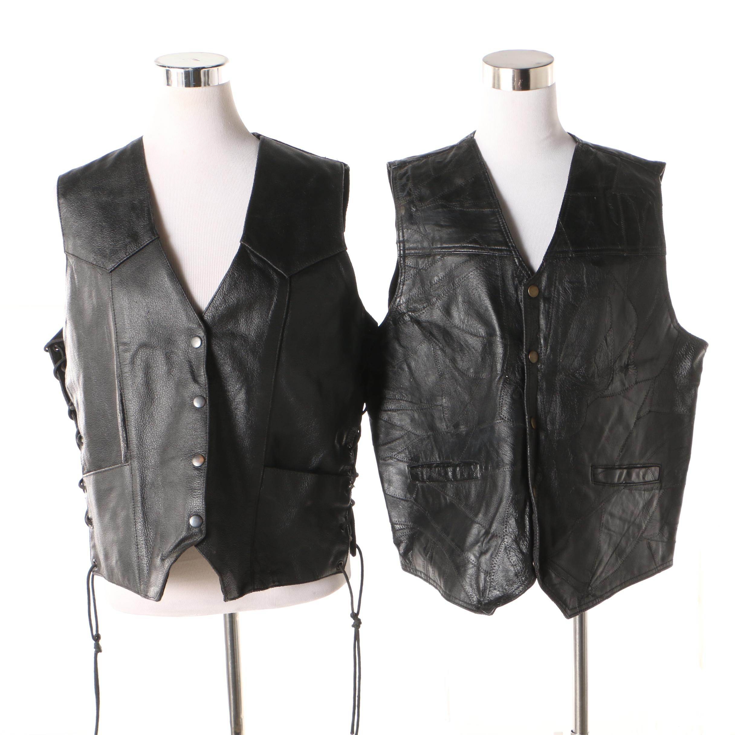 Harley-Davidson and S & S Cycle Black Leather Motorcycle Vests