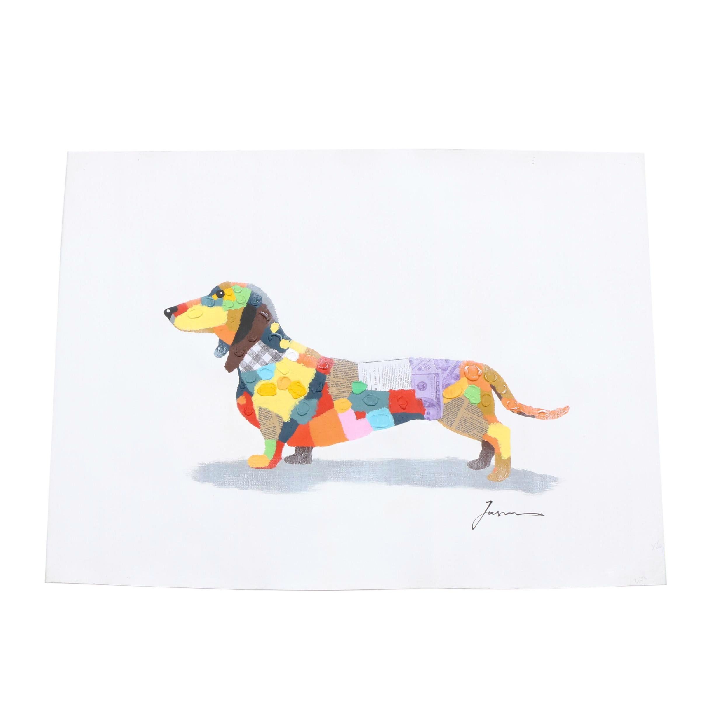Contemporary Mixed Media Painting of Dachshund Dog
