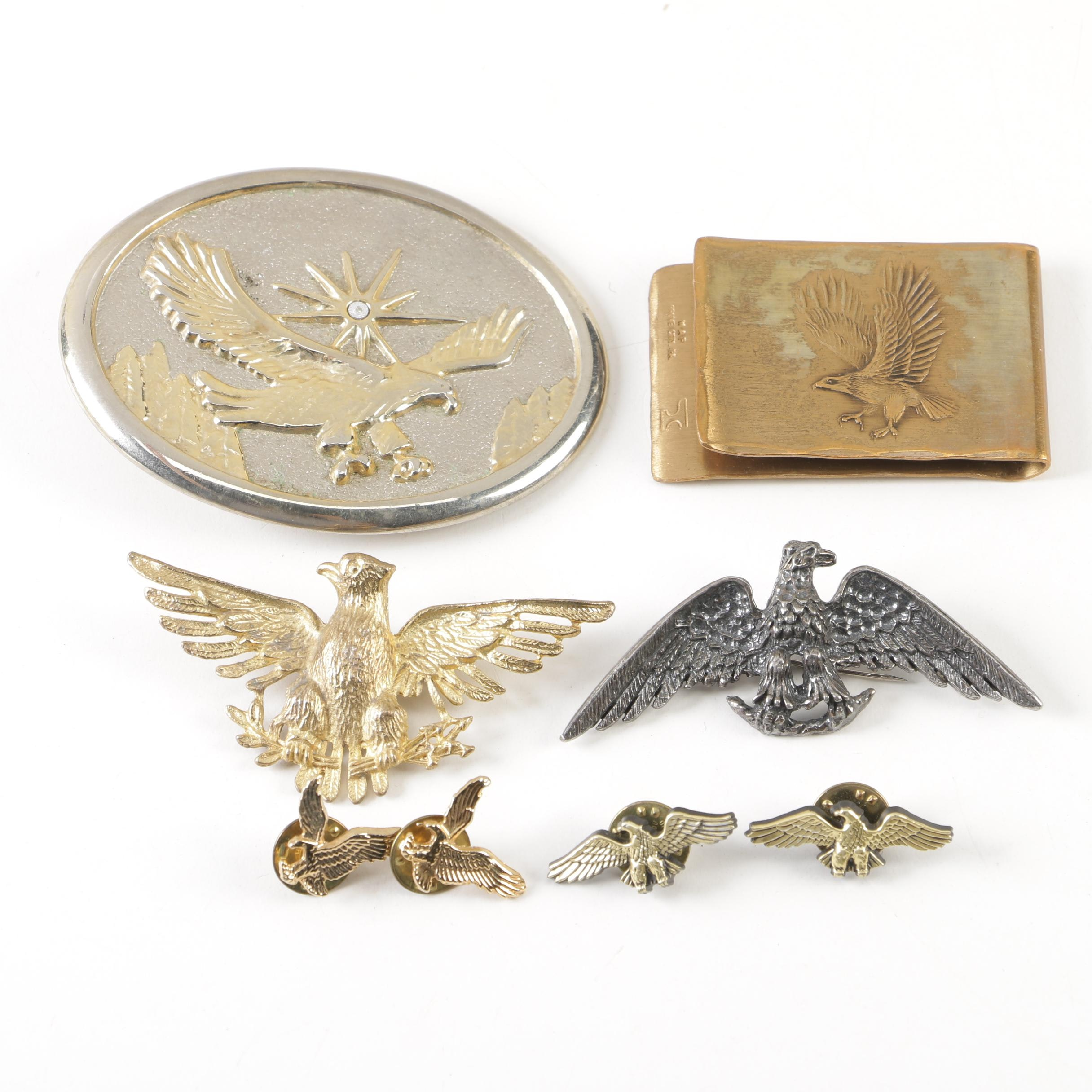 Vintage American Eagle Pins and Belt Buckles, 20th Century