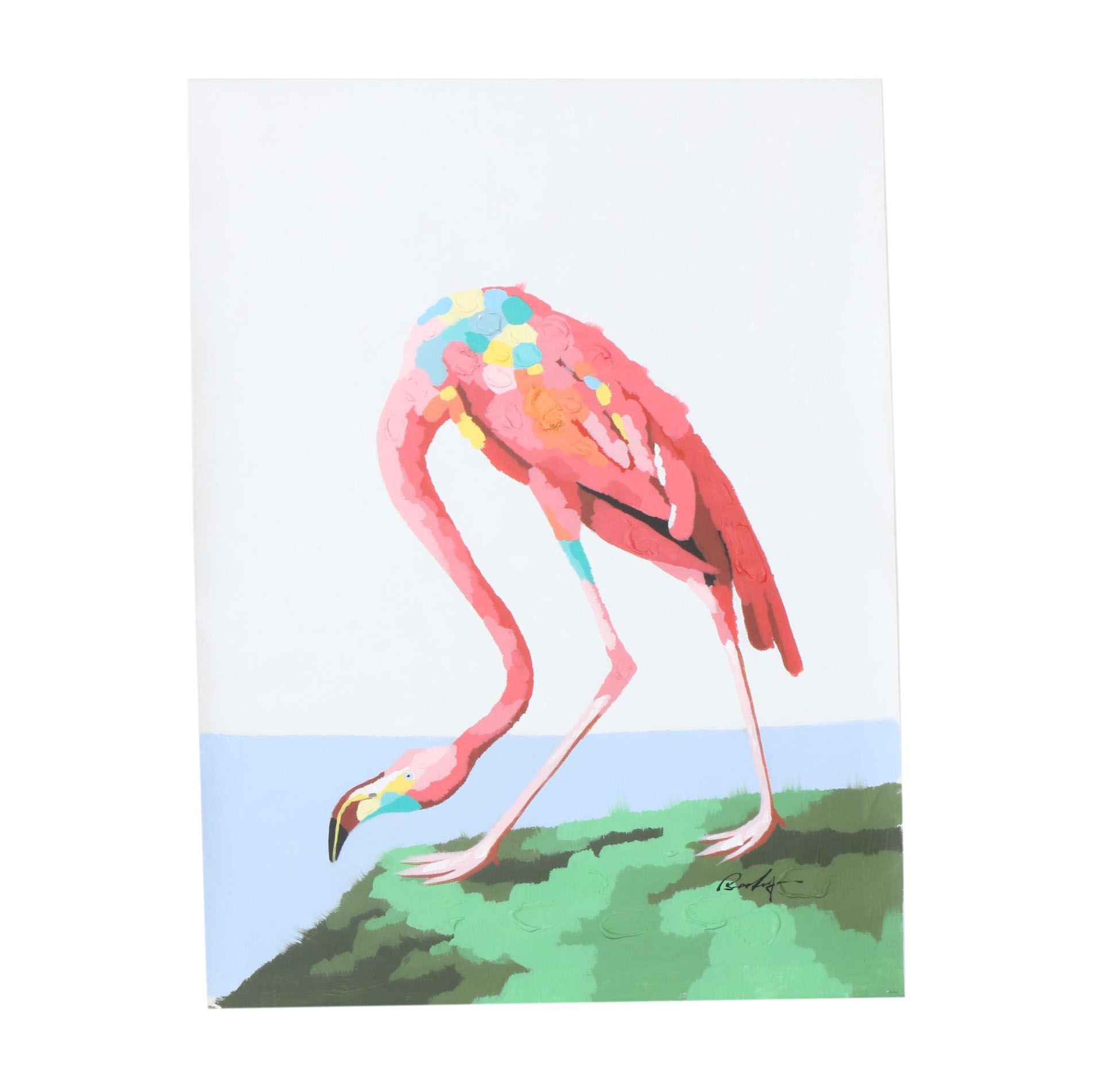 Abstract Mixed Media Painting of Flamingo
