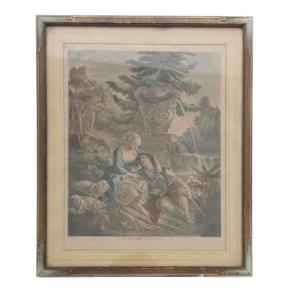 "Hand-Colored Engraving ""La Bergere Prevoyante"" After Francoise Boucher"