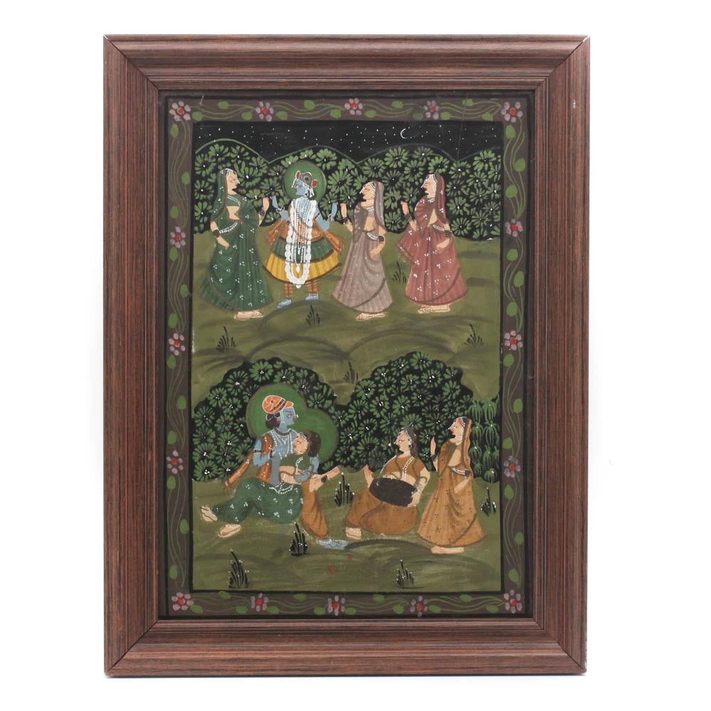 Indian School Painting on Fabric of Krishna
