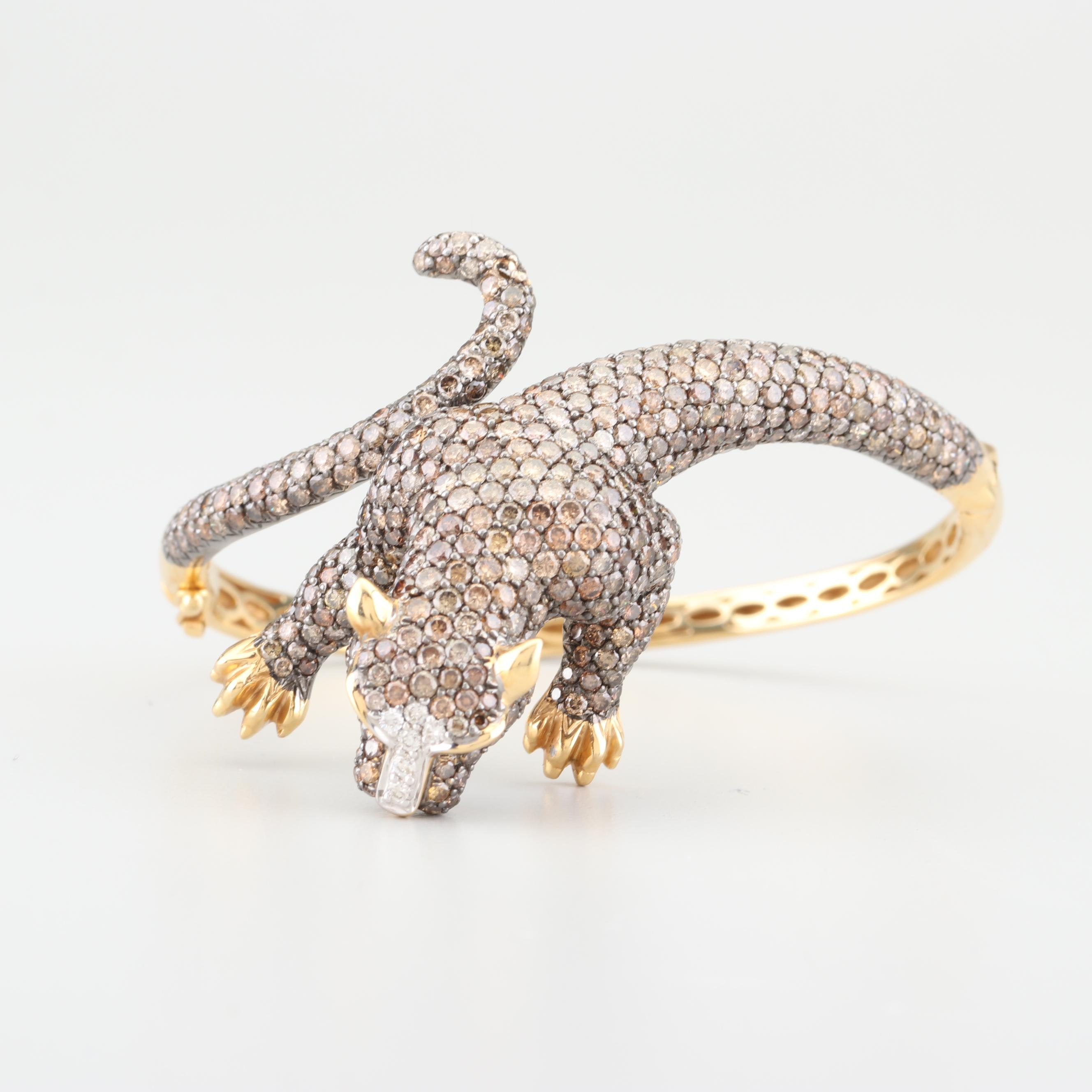 18K Yellow Gold and 10.37 CTW Diamond Jaguar Bracelet