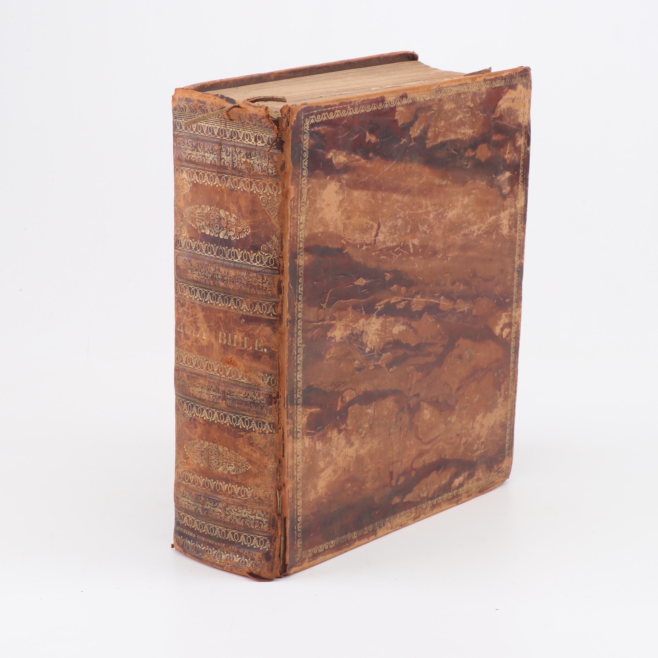 1831 Marbled Leather Bound Bible