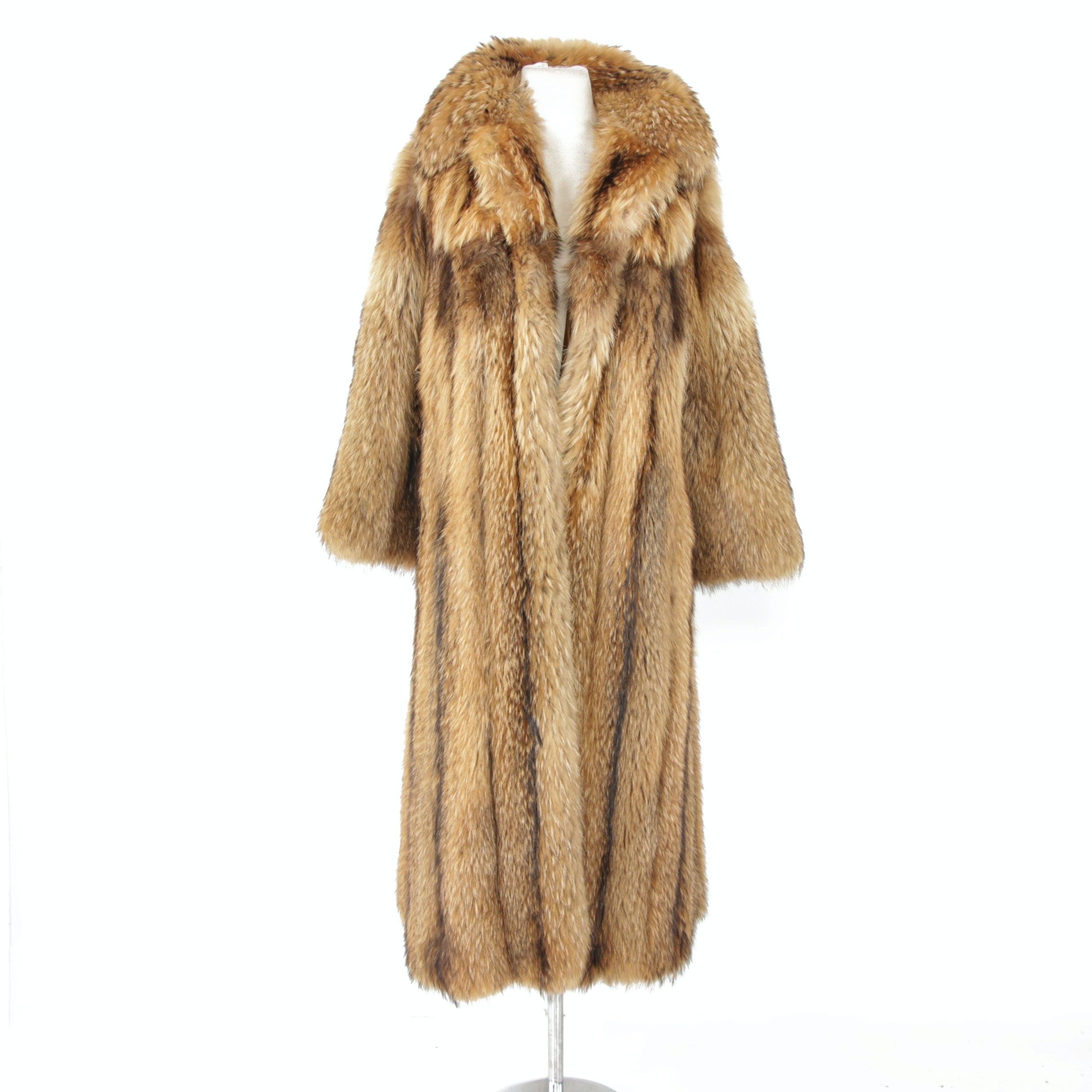 Geoffrey Beene for Montaldo's Finn Raccoon Fur Full-Length Coat, Vintage