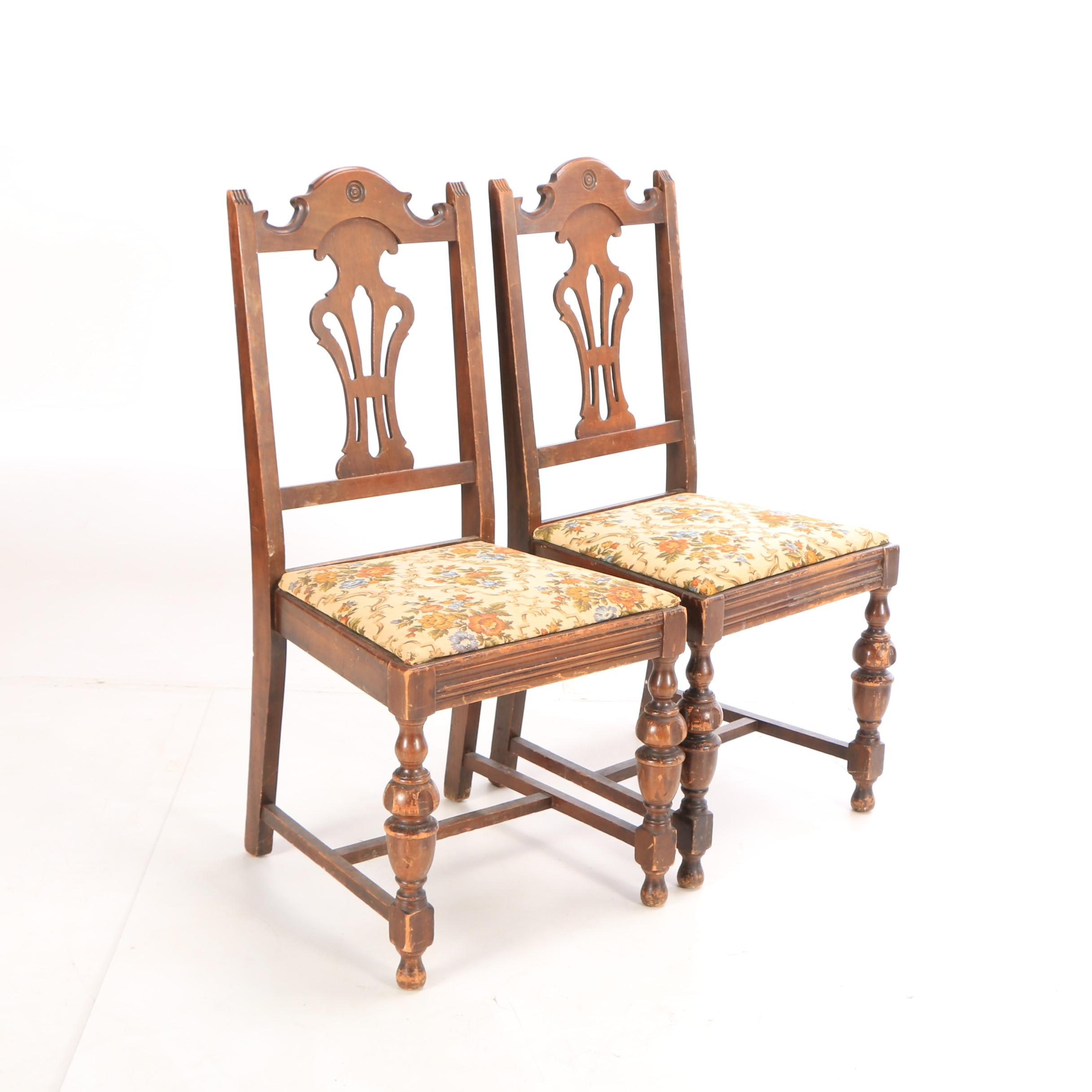 Jacobean Revival Style Upholstered Side Chairs, Mid-20th Century