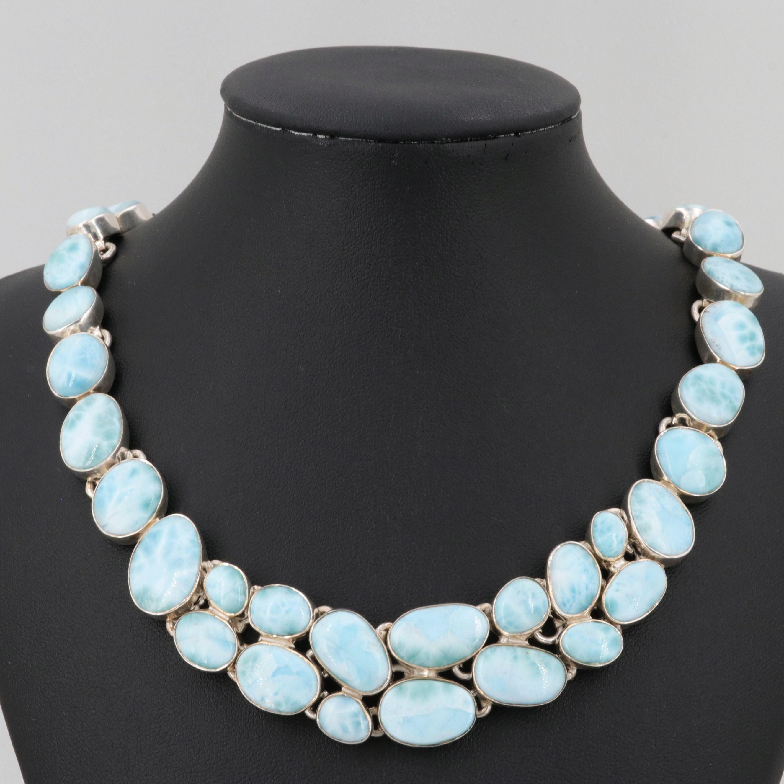 Sterling Silver Larimar Necklace