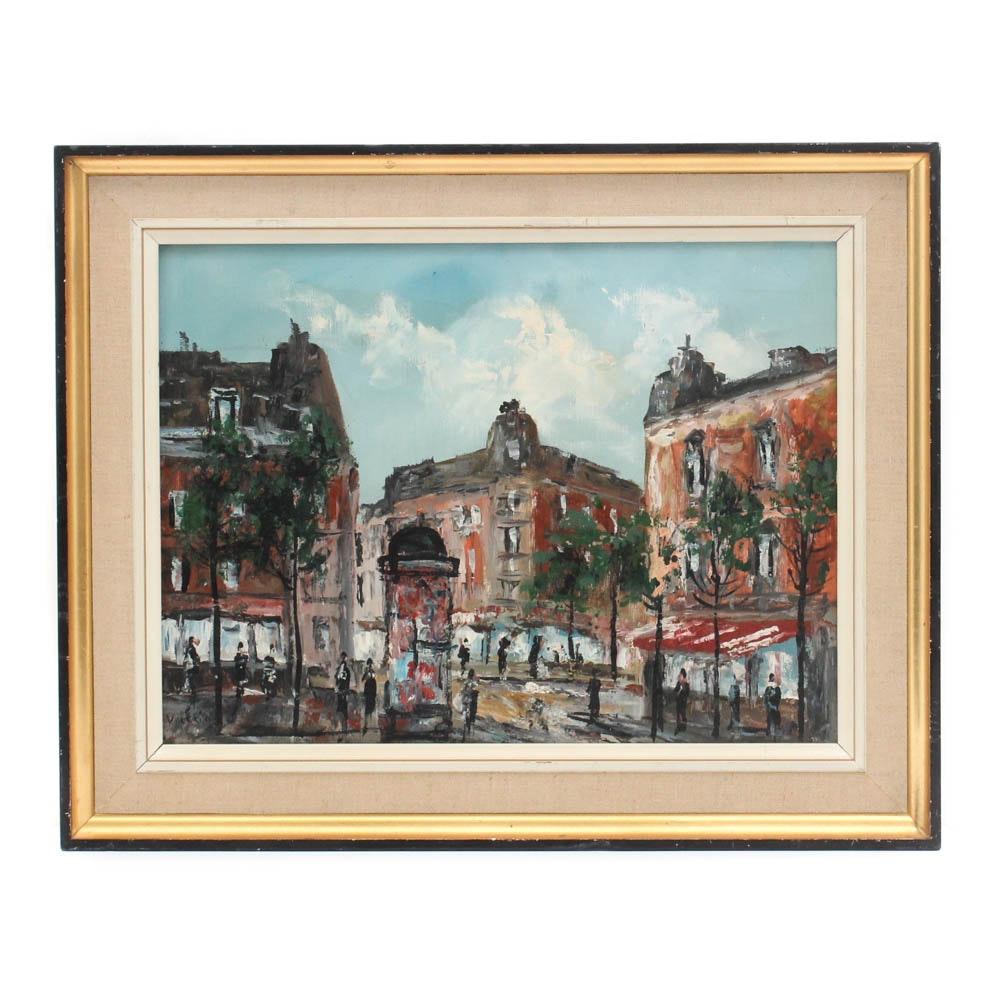 Hubert Valerio Paris Street Scene Oil Painting
