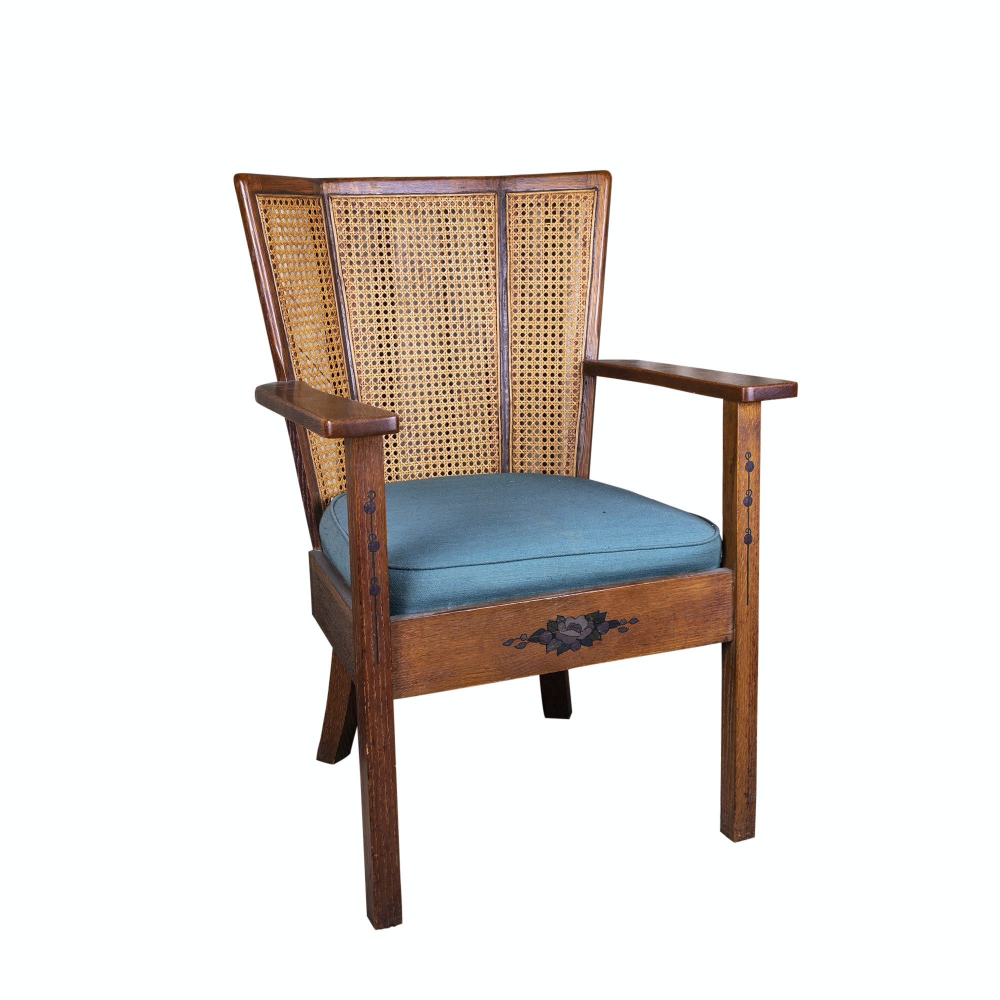 Oak Panel Back Armchair, Mid-20th Century
