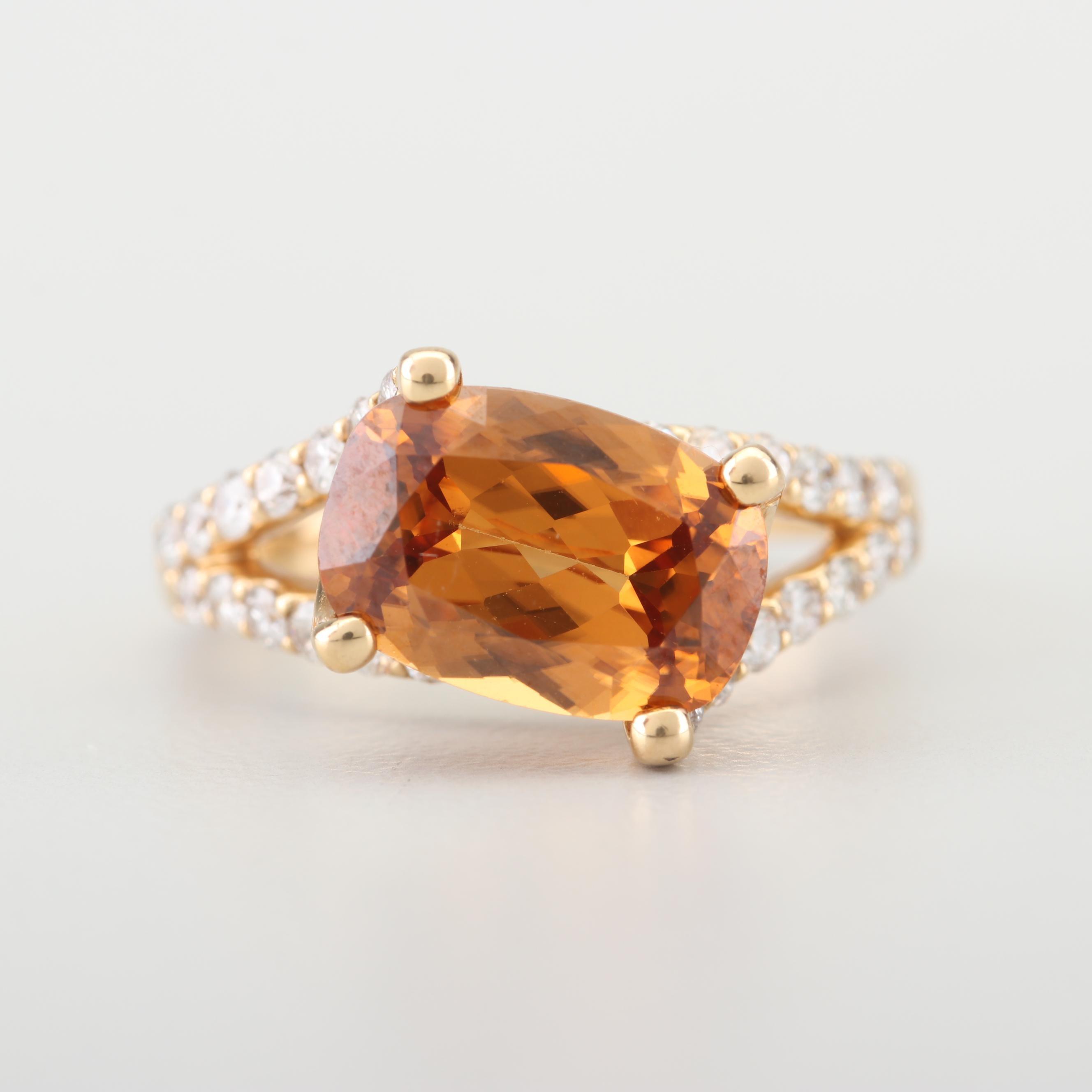 18K Yellow Gold 2.85 CT Topaz and Diamond Ring
