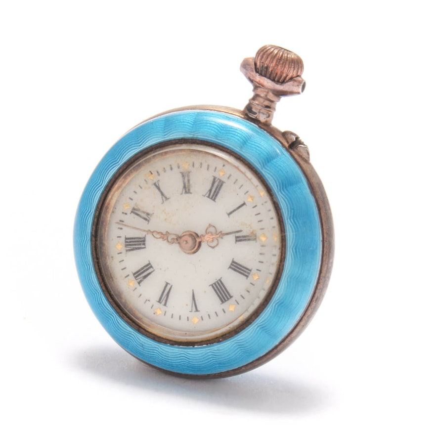 800 Silver and Enamel Pocket Watch