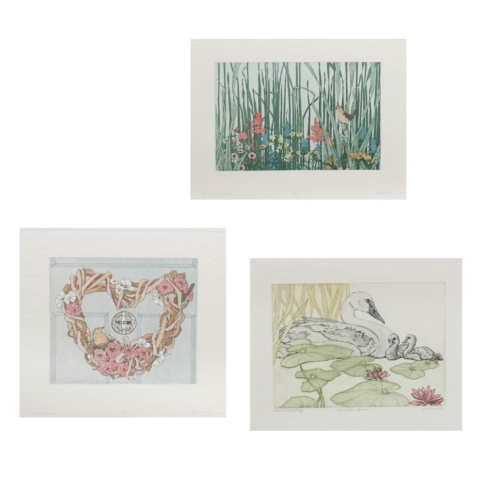 Judith Hall Hand-Colored Etchings
