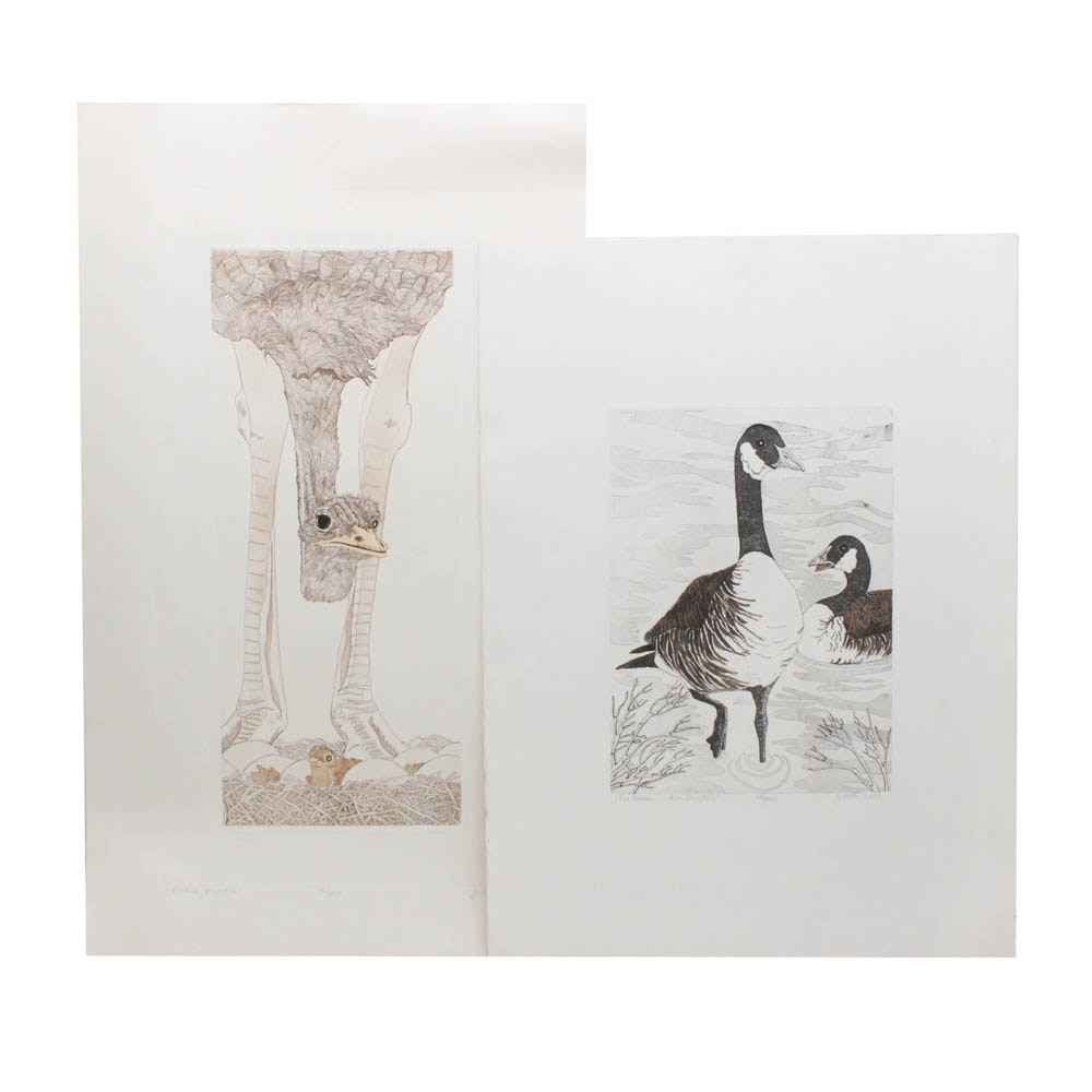 """Judith Hall Hand-Colored Etchings """"Fertile Myrtle"""" and """"His Goose... Her Gander"""""""