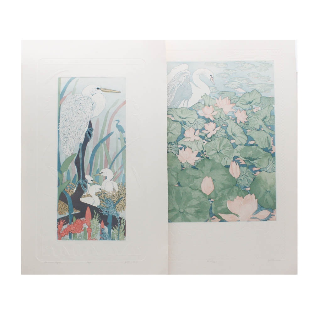 """Judith Hall Hand-Colored Etchings """"Swan Lake"""" and """"American Egret"""""""