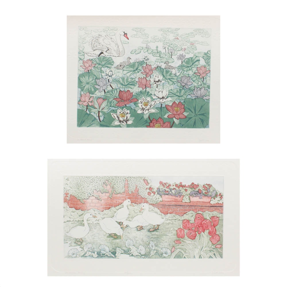 """Judith Hall Hand Colored Etchings """"The Garden Party"""" and """"On Gilded Pond"""""""