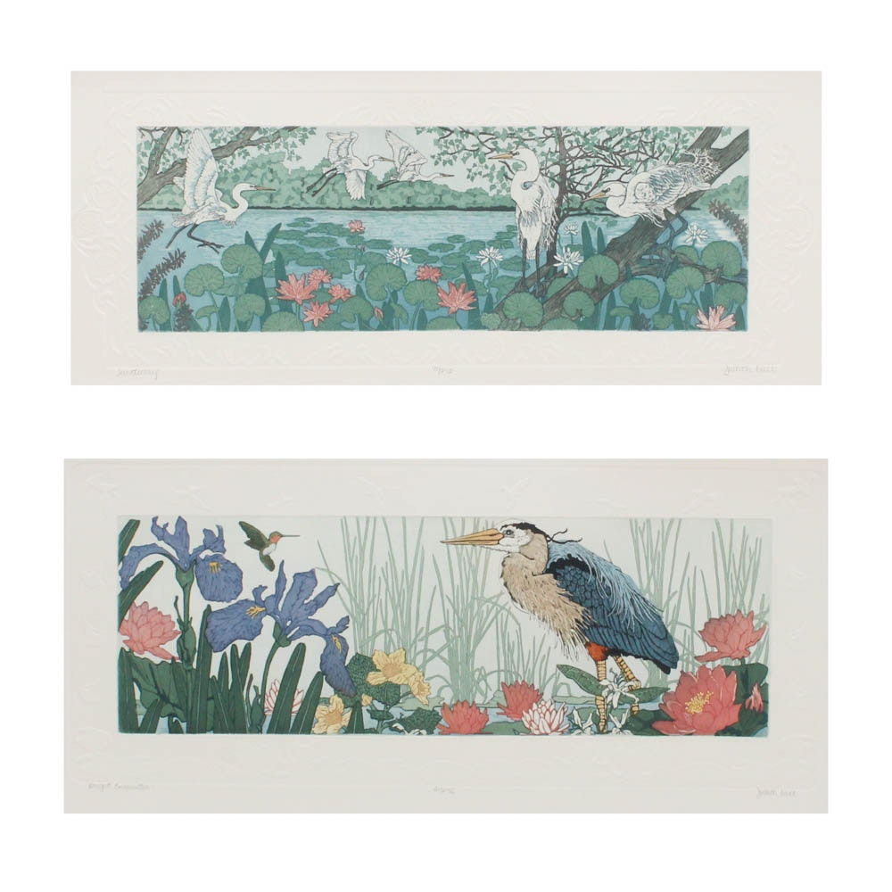 """Judith Hall Hand Colored Etchings """"Sanctuary"""" and """"Bright Encounter"""""""