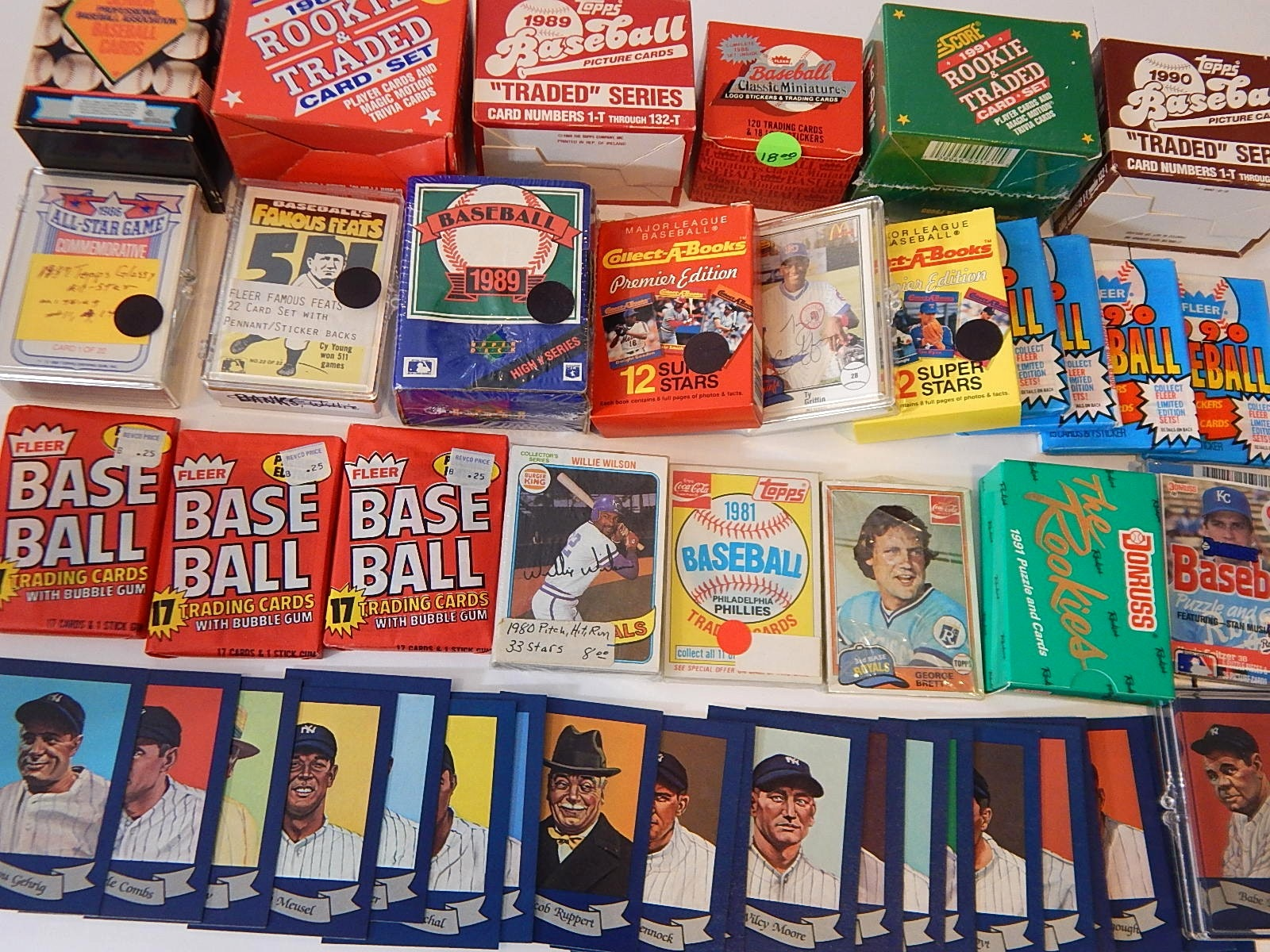 Collection of Baseball Sets, Wax Packs from 1980s and 1990s