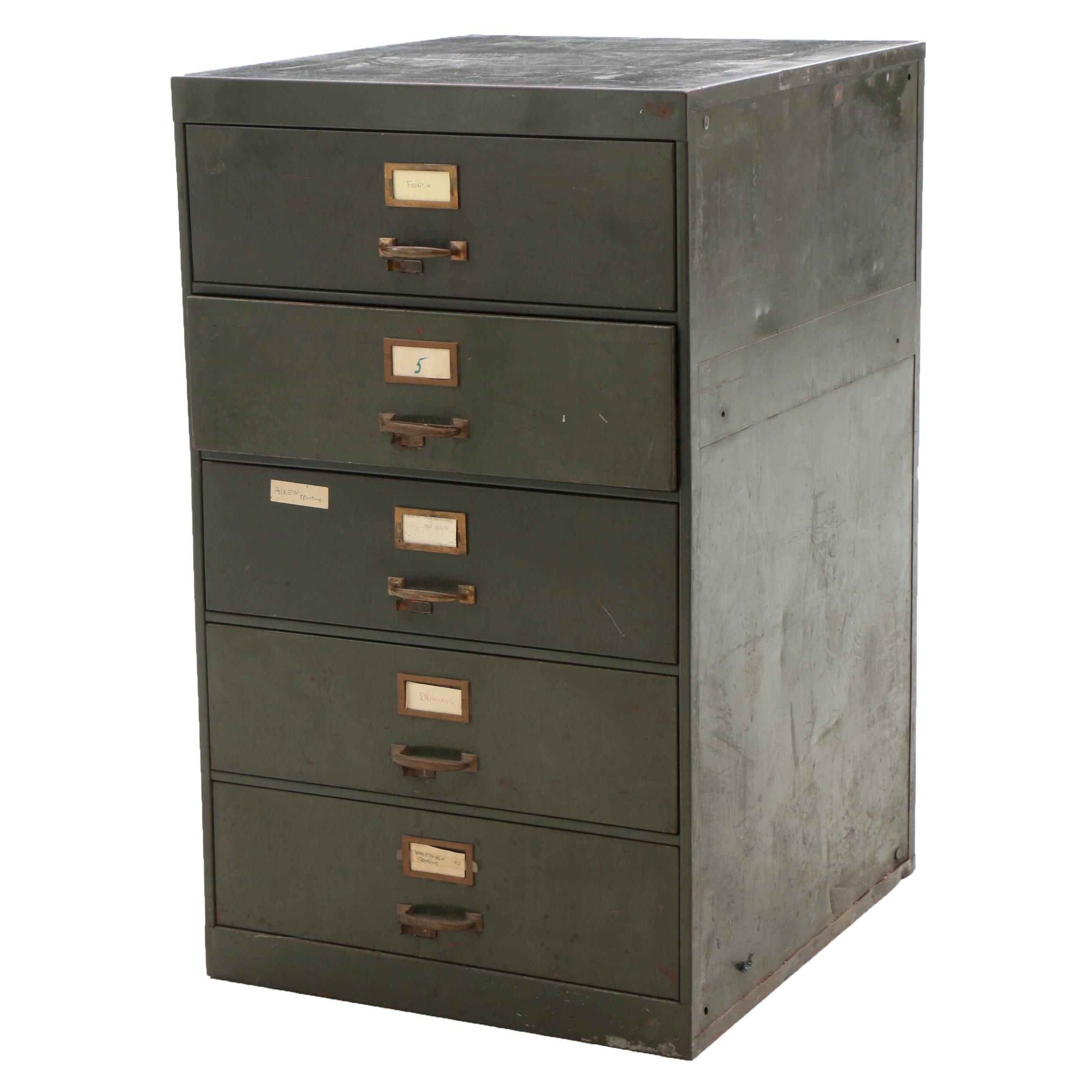 Vintage Wide Drawer Metal Filing Cabinet