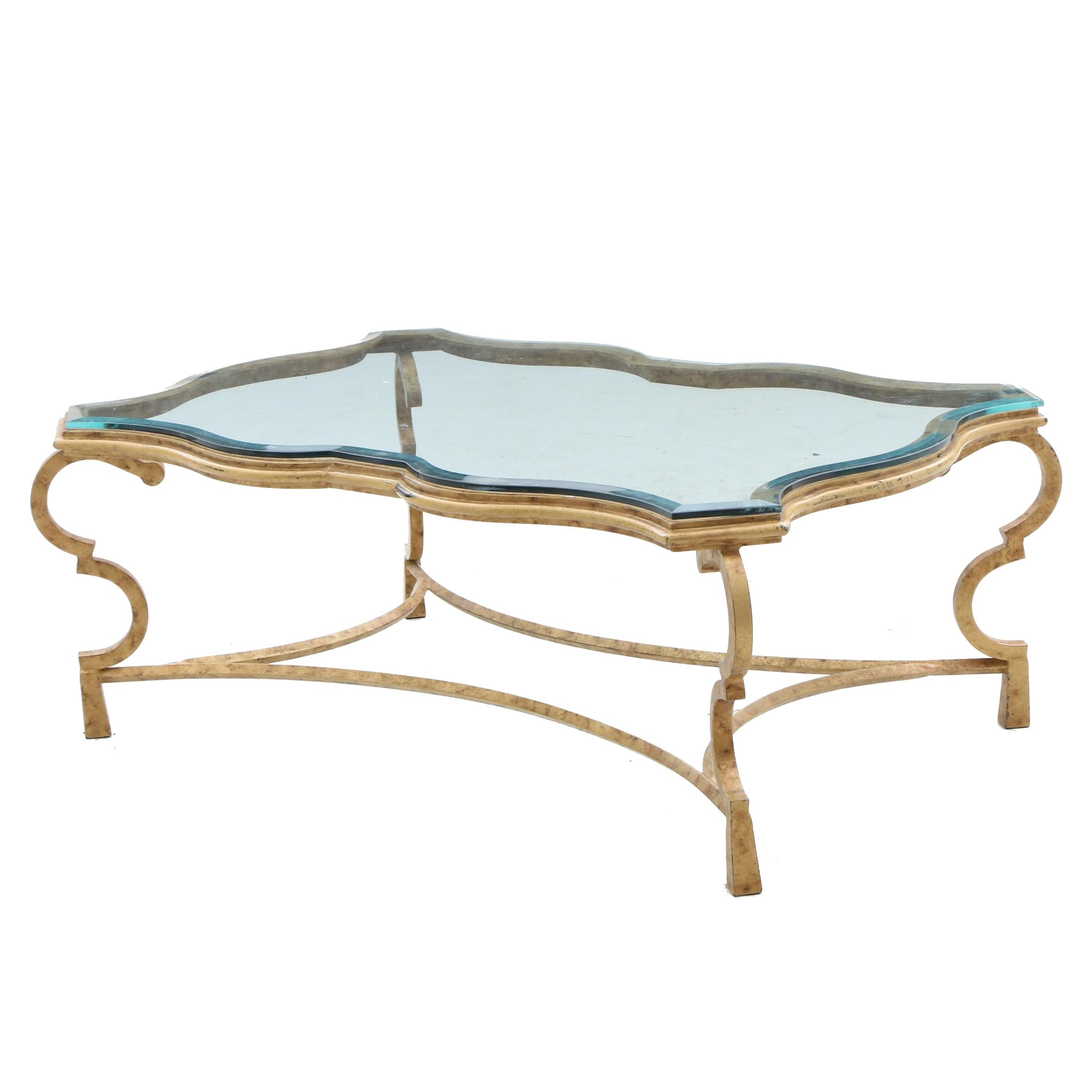 Gilded Glass Top Coffee Table