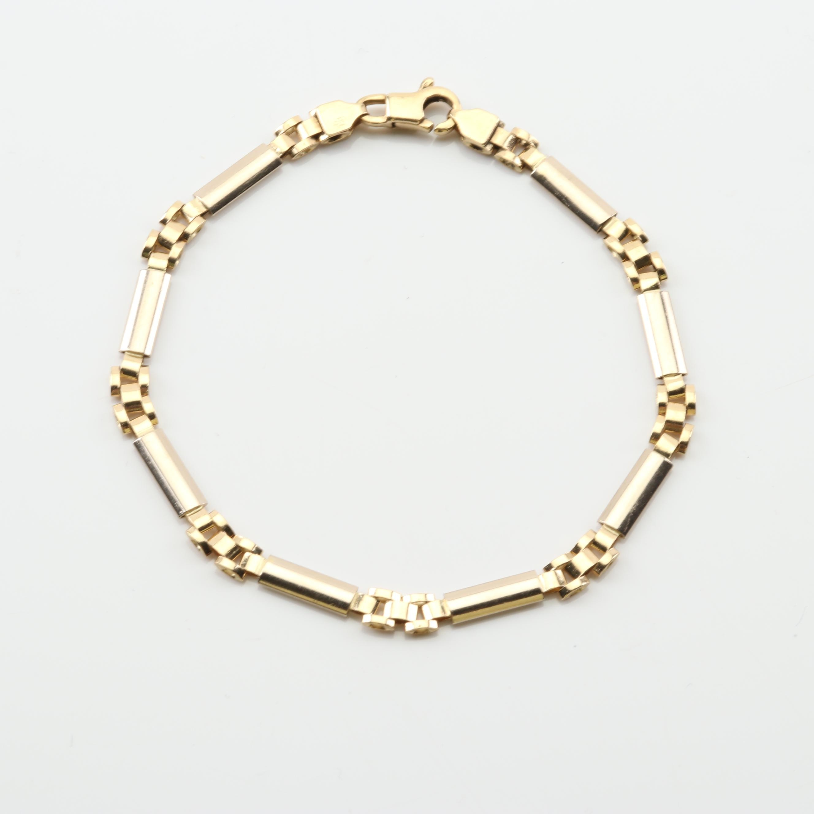 Aurafin 14K Yellow Gold Bar and Panther Chain Bracelet