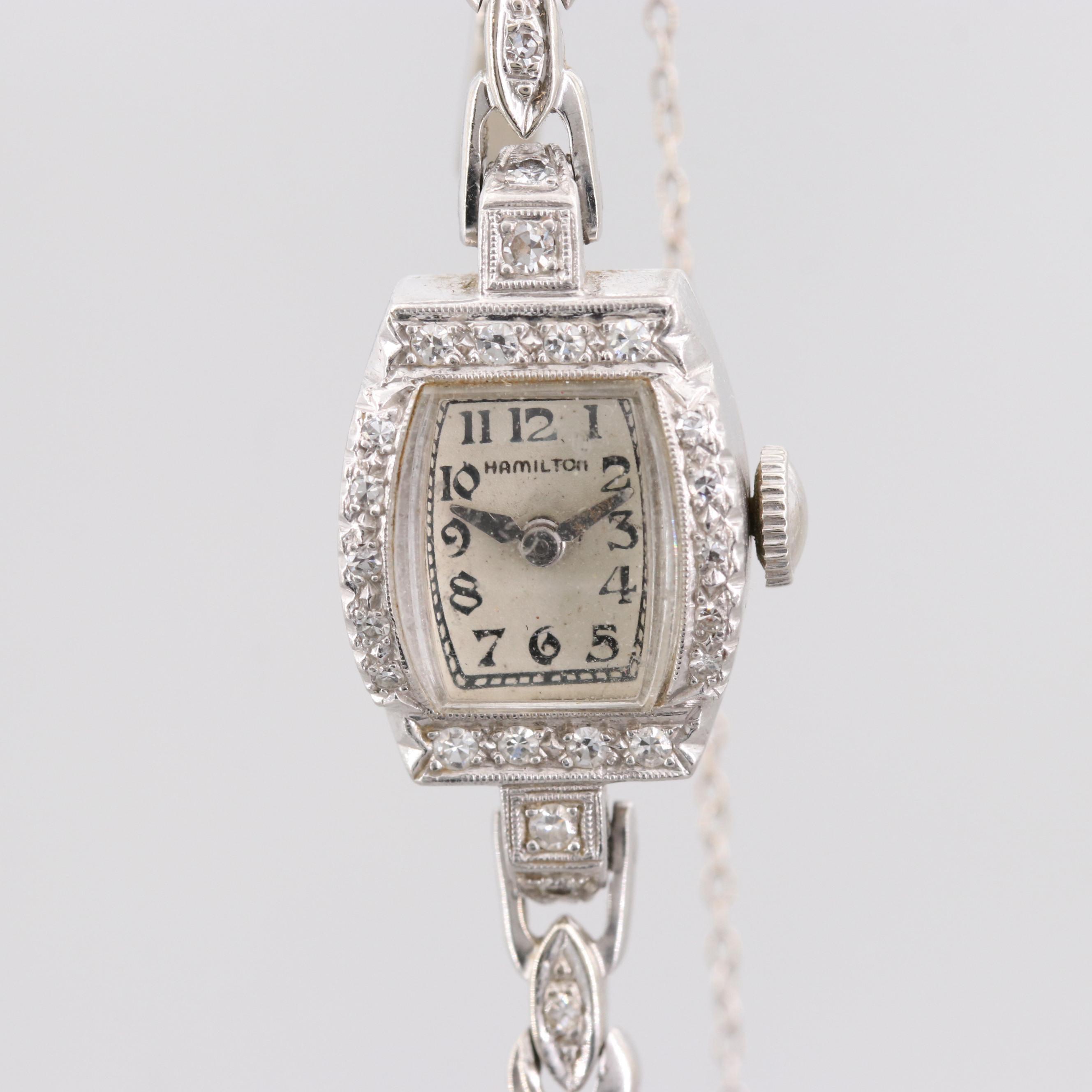 Hamilton Platinum and Diamond Wristwatch With 14K White Gold and Diamond Band