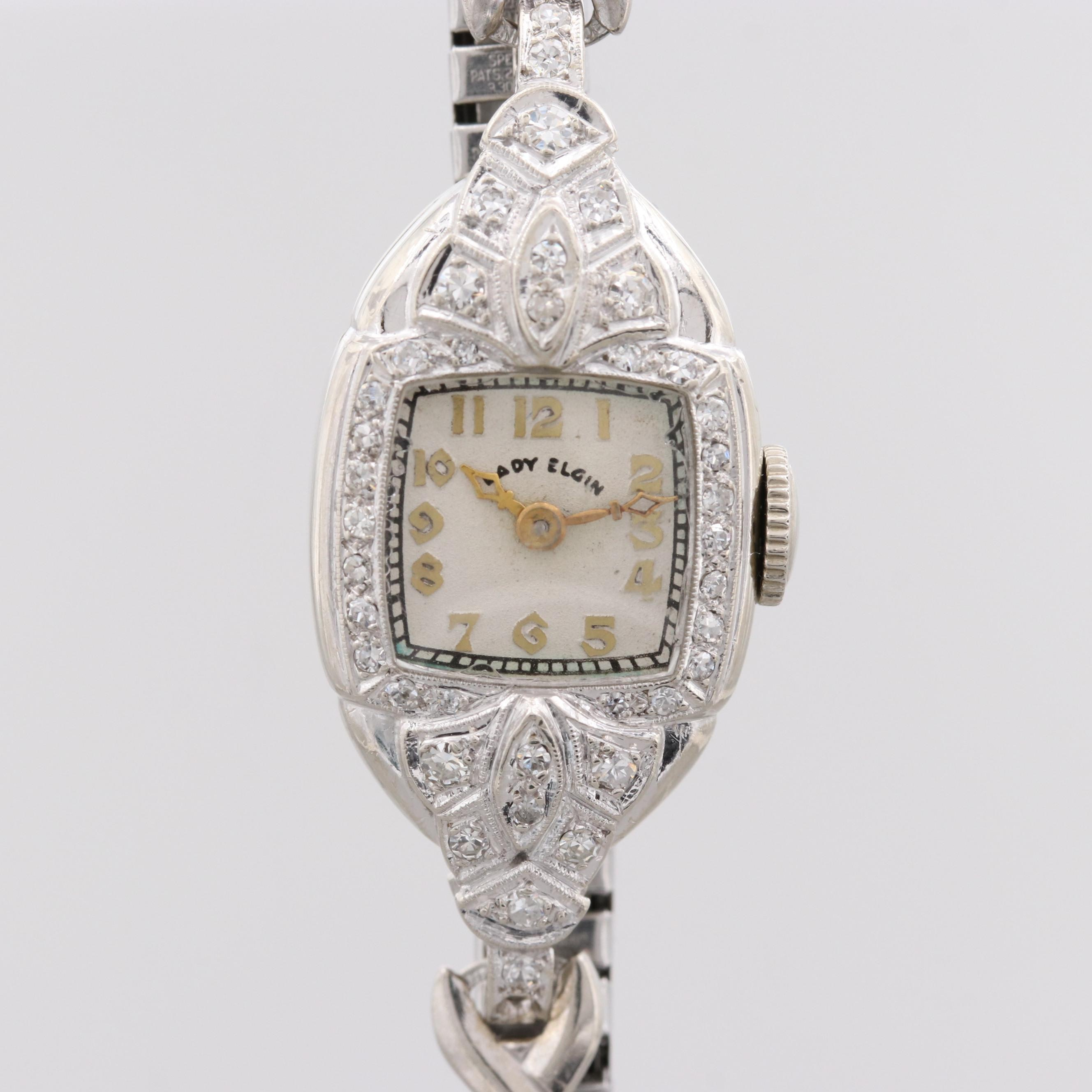 Lady Elgin Stainless Steel and 14K White Gold Wristwatch with Diamond Bezel