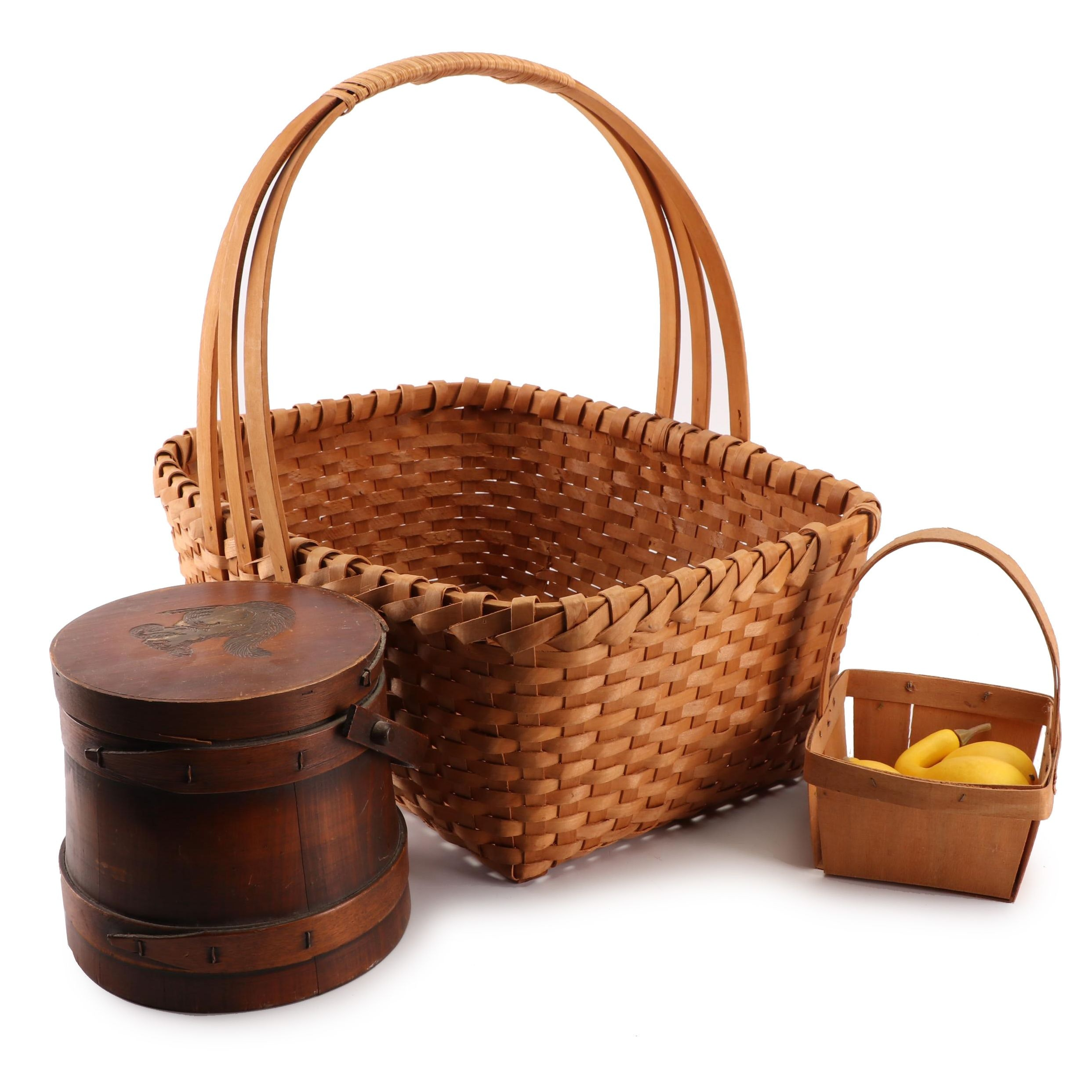 Woven Baskets, Shaker Style Box with Carved Squirrel Lid and Faux Gourds