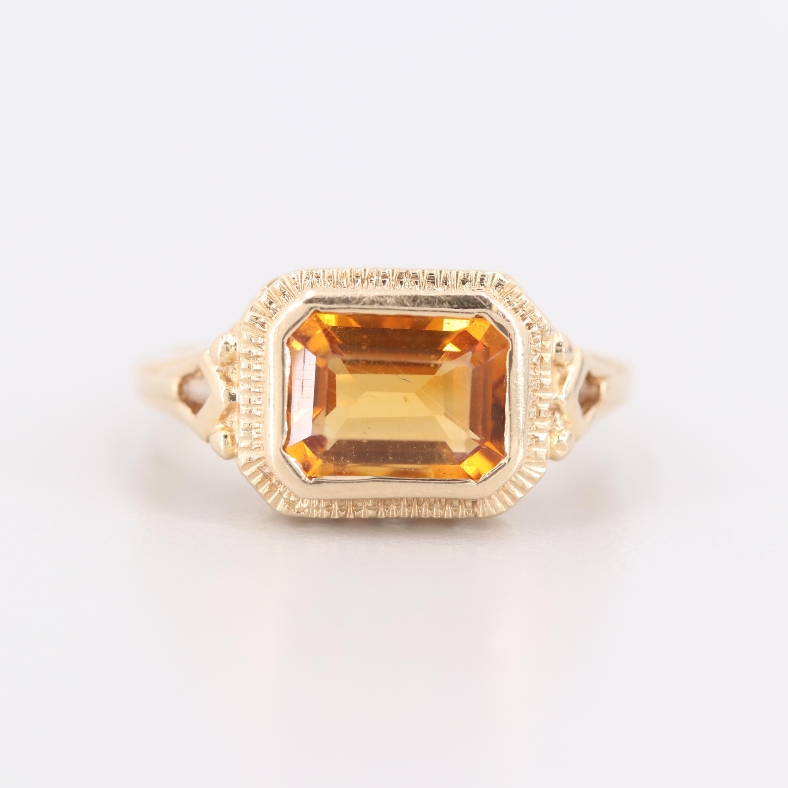 14K Yellow Gold Citrine Openwork Ring
