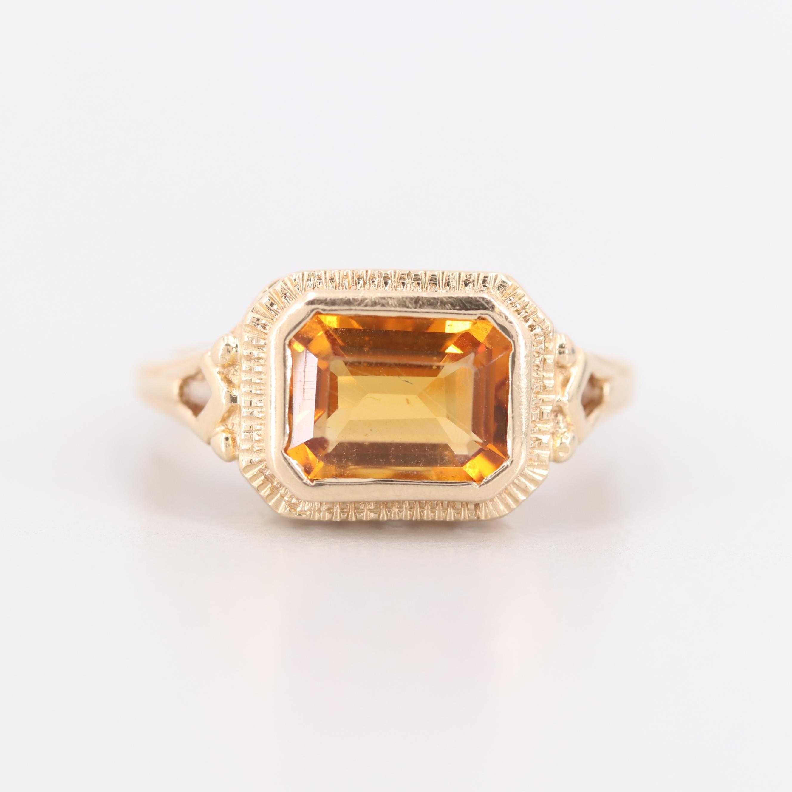 14K Yellow Gold Citrine Openwork Ring