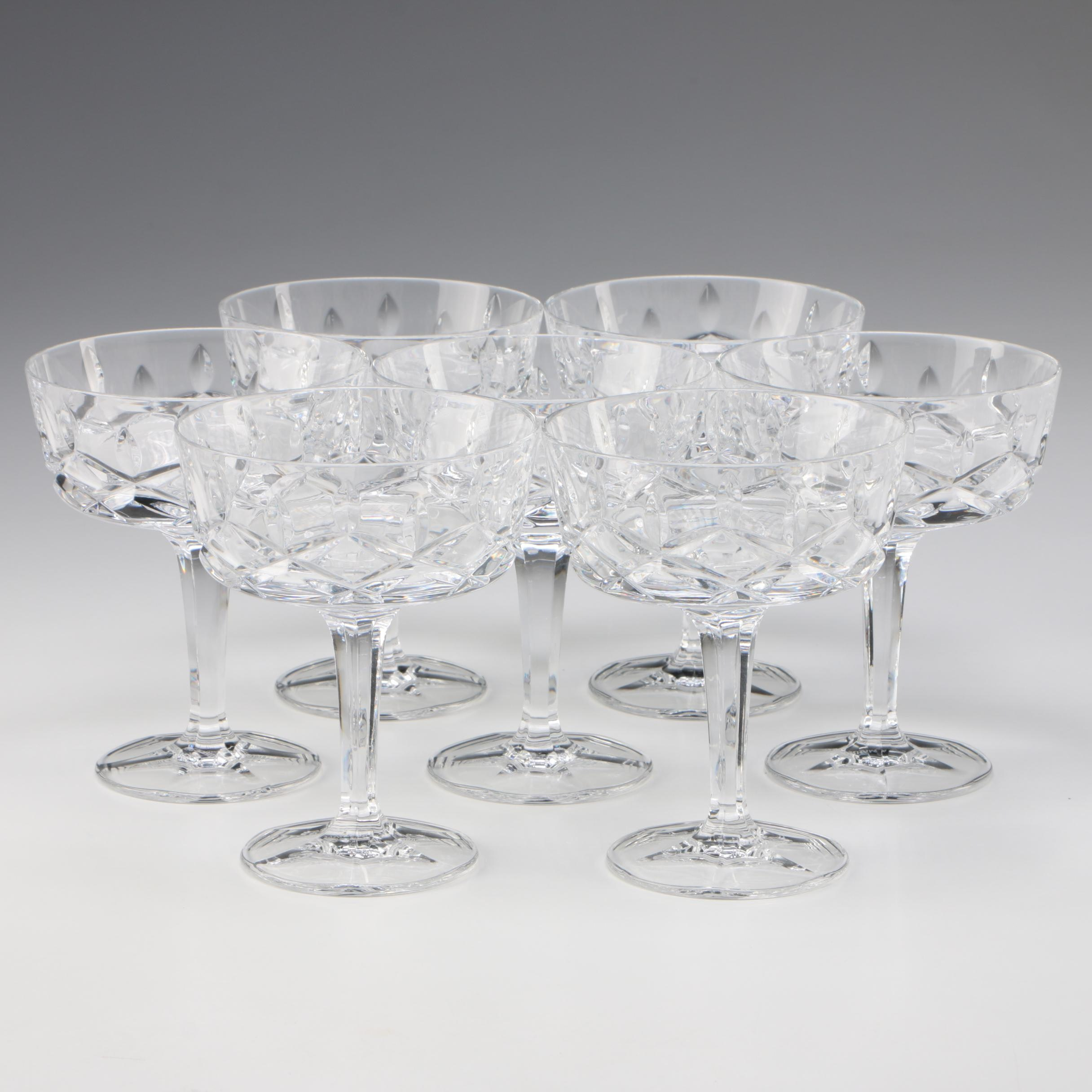 "Gorham ""King Edward"" Crystal Champagne Coupes, Late 20th Century"