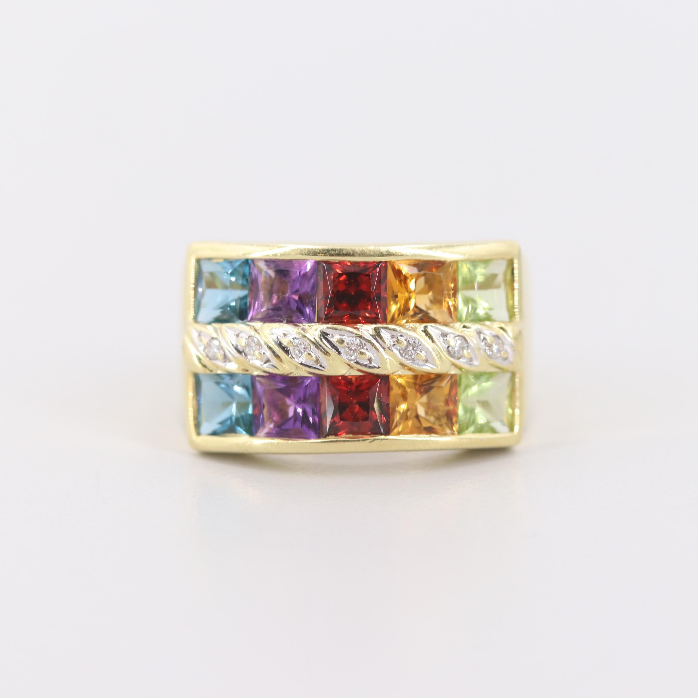 Vintage H. Stern 18K Yellow Gold Ring Including Diamond, Amethyst and Garnet