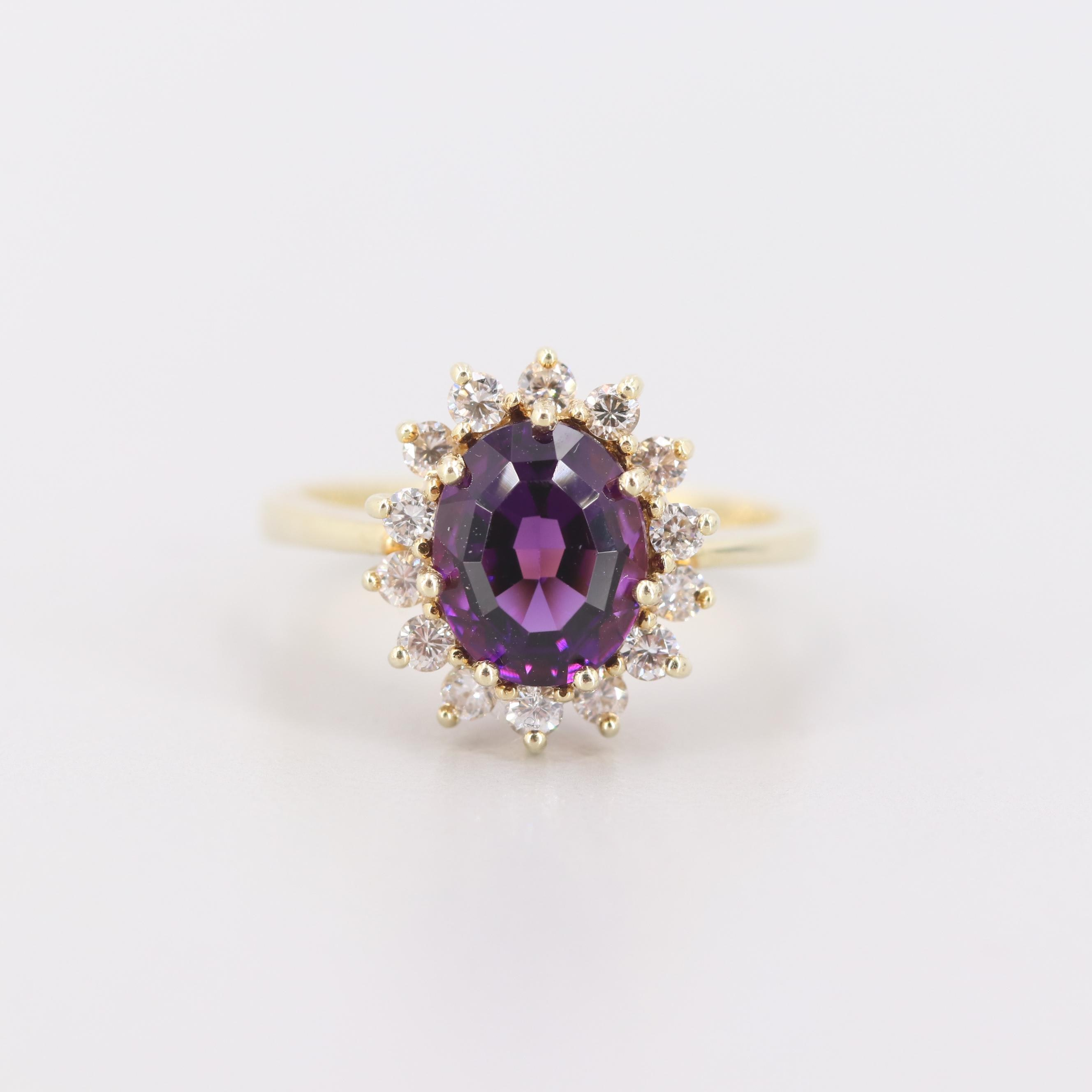 14K Yellow Gold Amethyst and Diamond Halo Ring