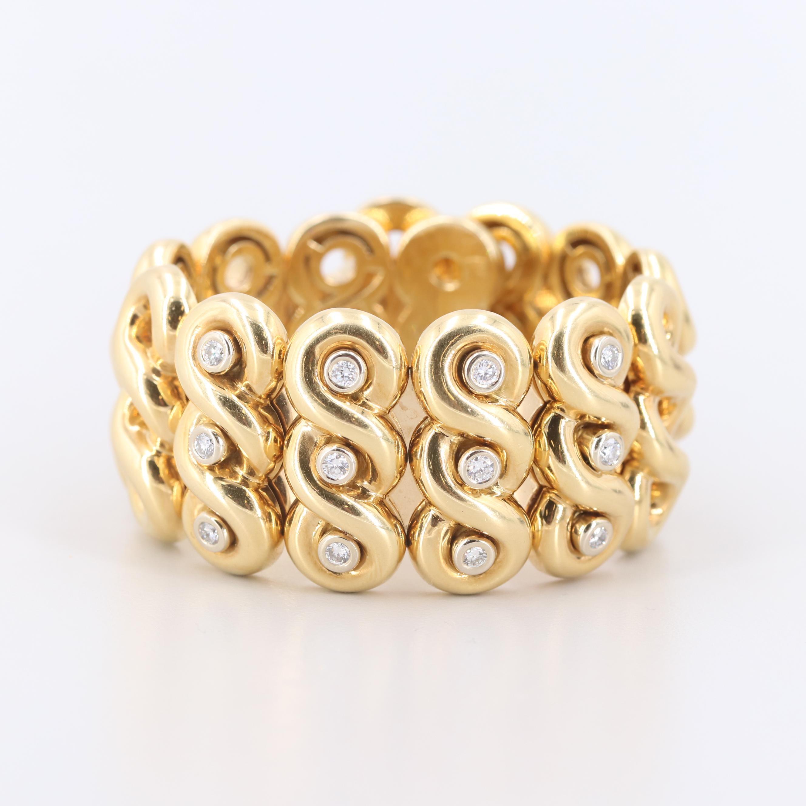 Italian 18K Yellow Gold 0.98 CTW Diamond Flex Cuff Bracelet