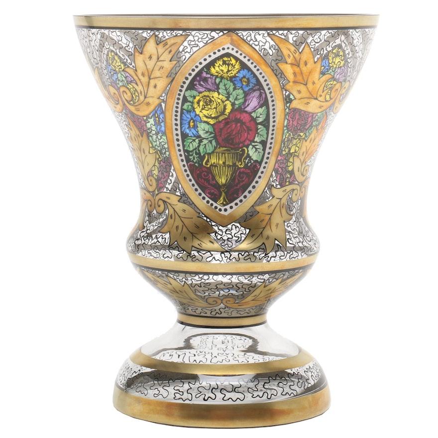 Vintage Art Deco Bohemian Glass Pedestal Vase
