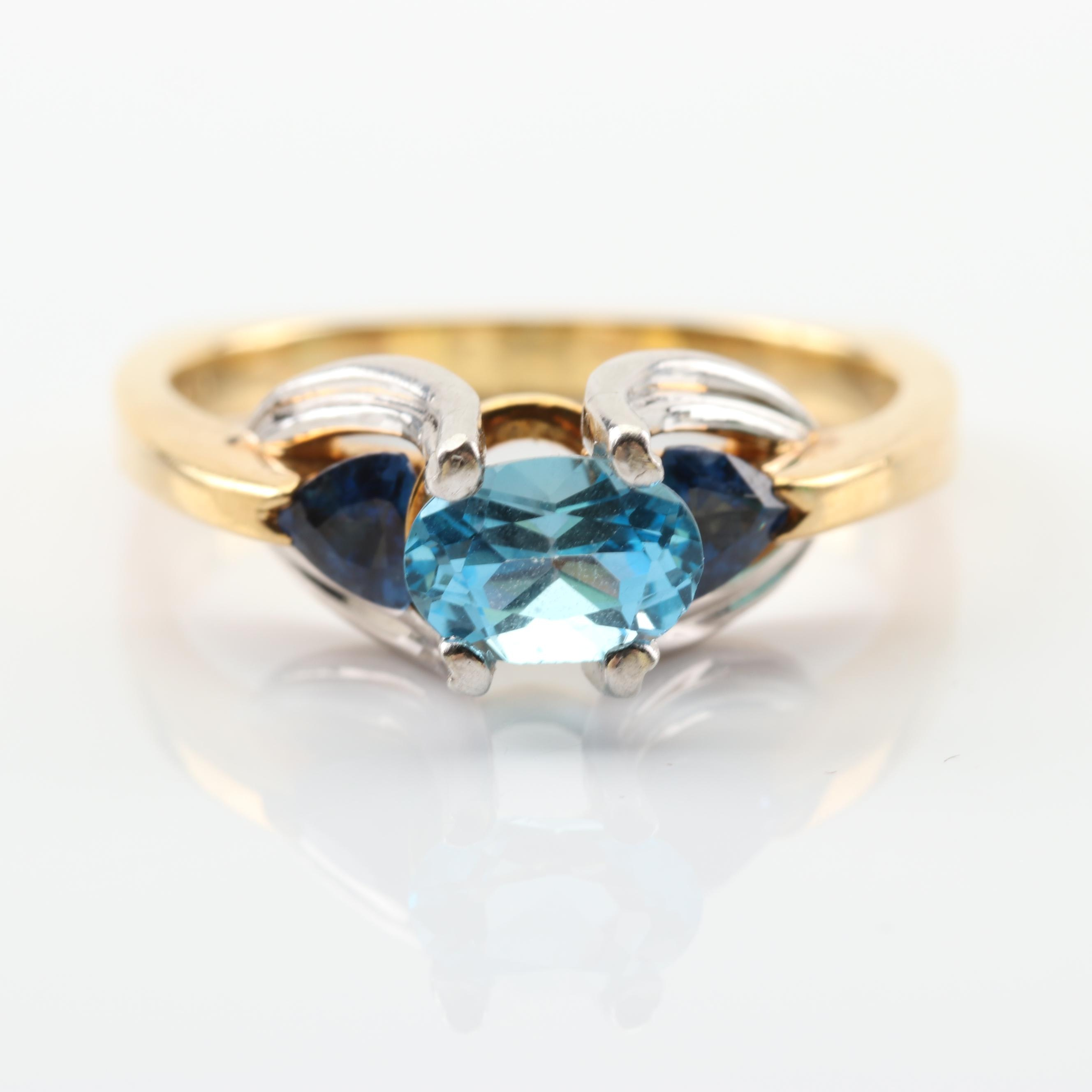 18K Yellow Gold Platinum Blue Topaz and Sapphire Ring