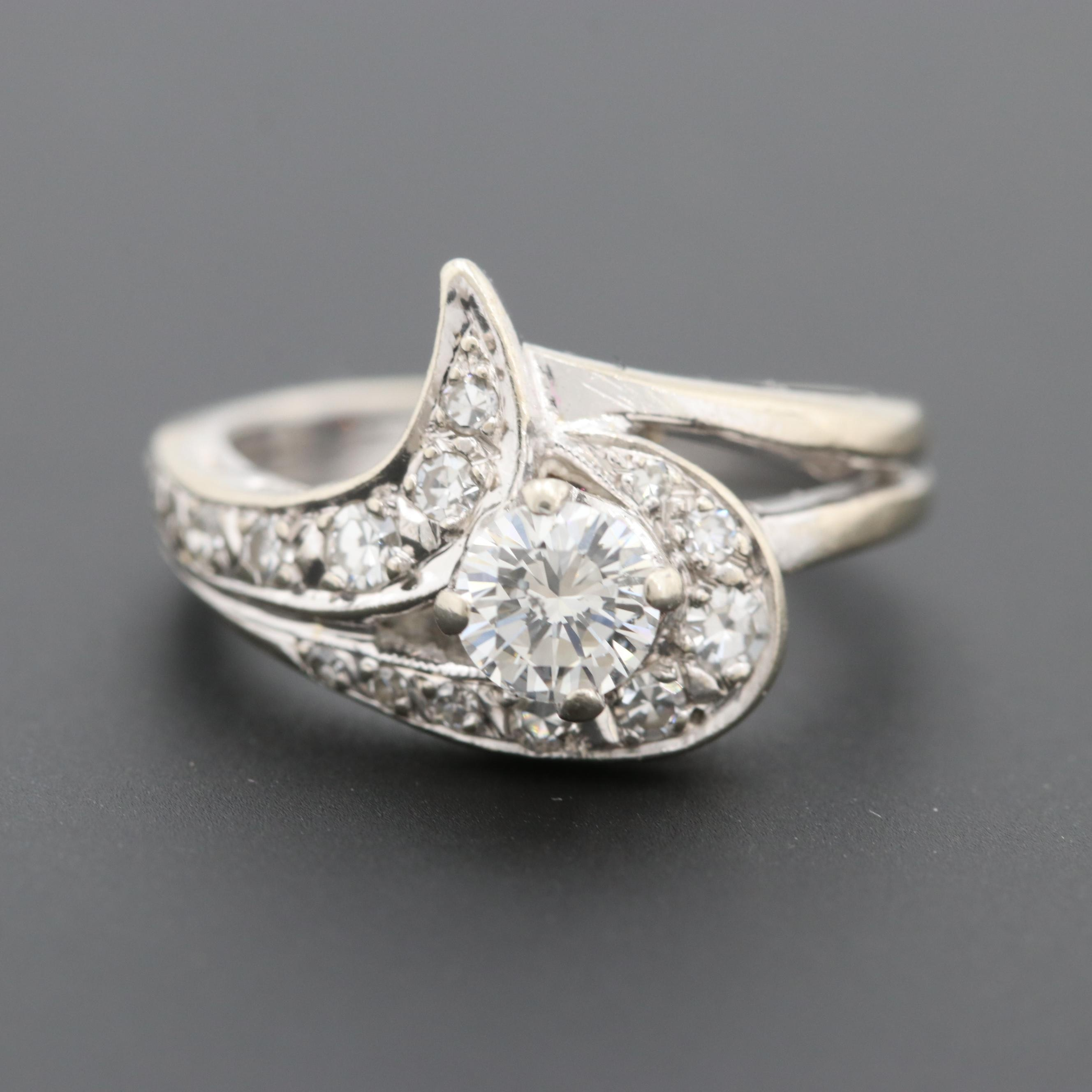 Circa 1940s 14K White Gold Diamond Ring