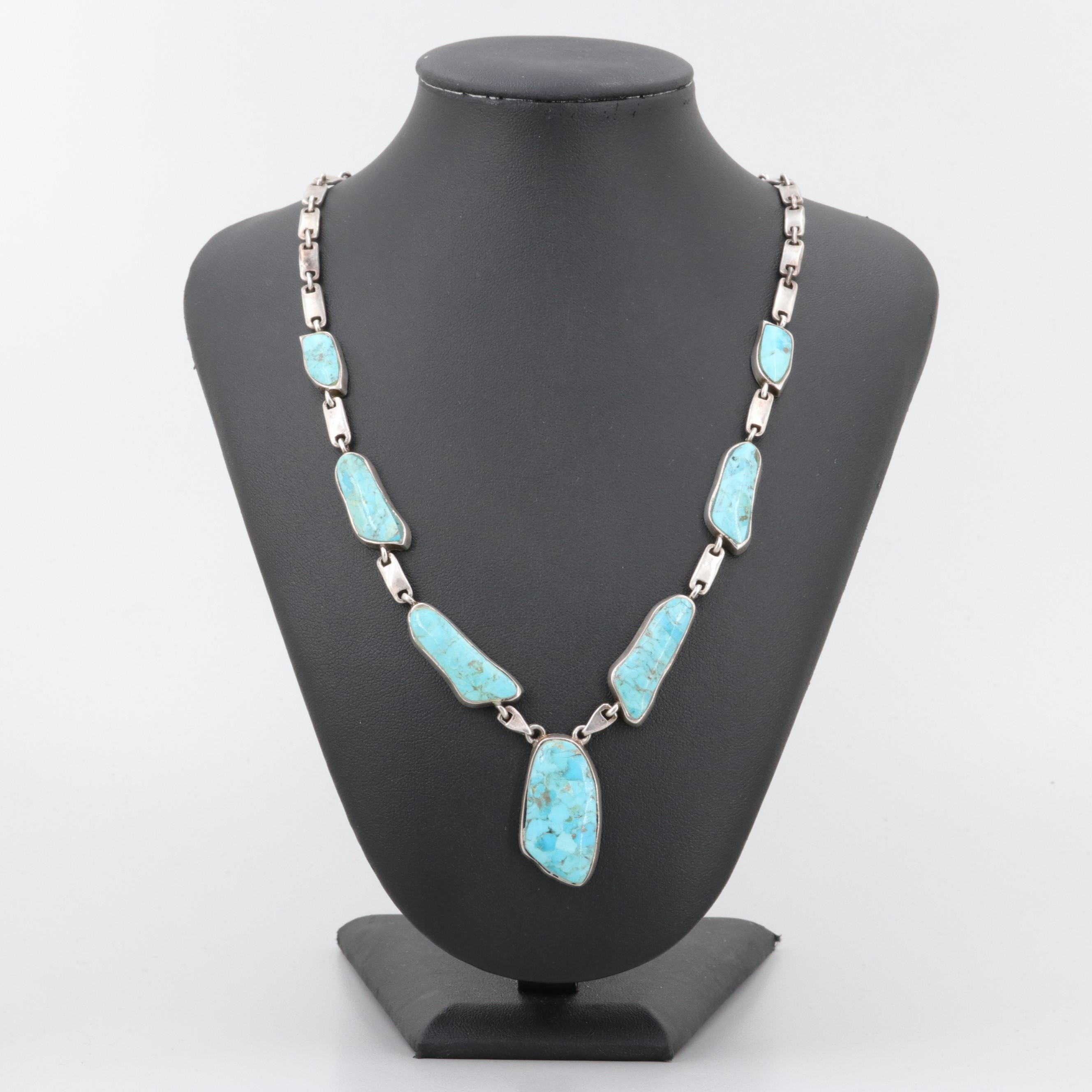 Southwestern Style Sterling Silver Composite Turquoise Necklace