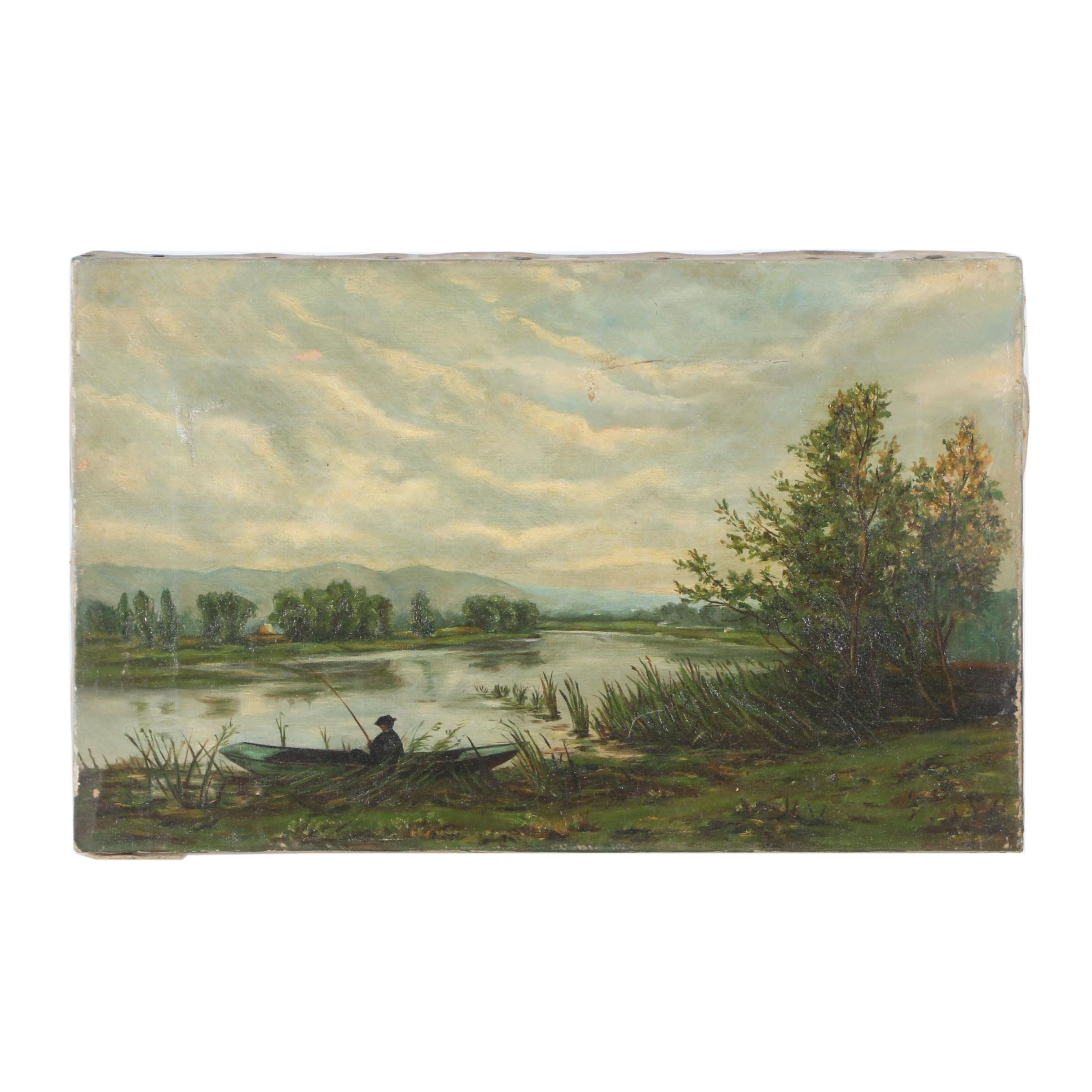 Early 20th Century Oil Painting of Fishing Scene